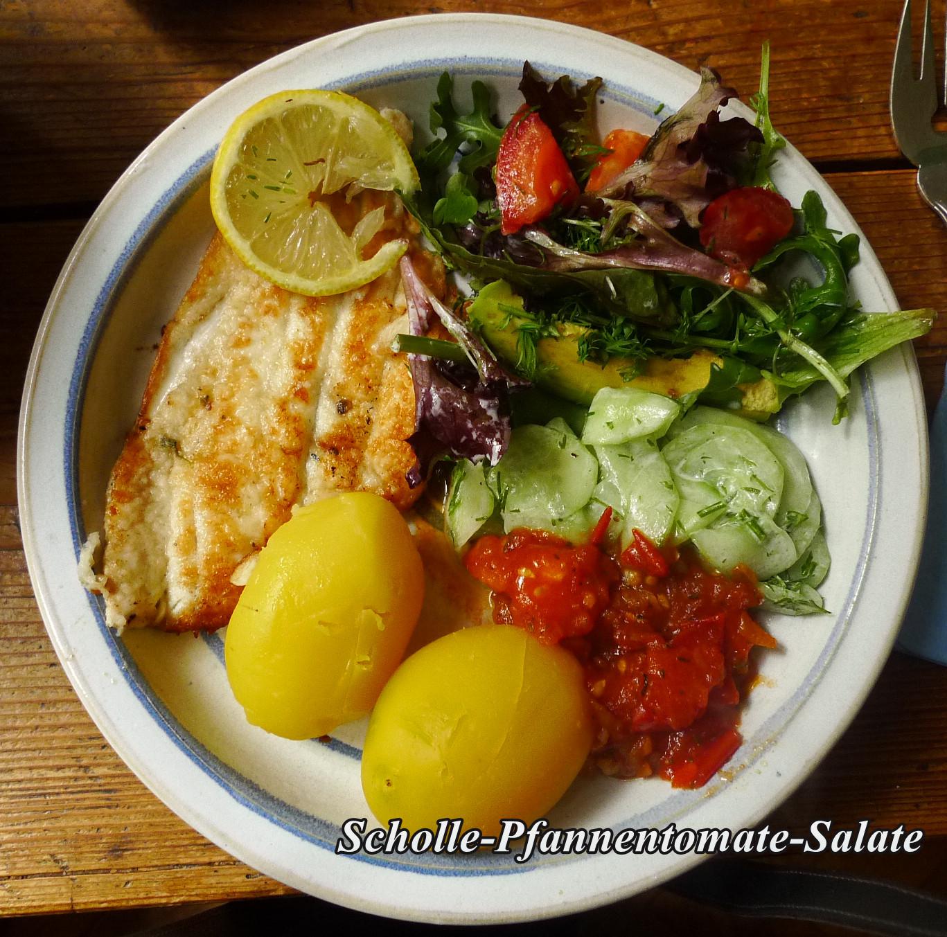 25.10.2013-Scholle-Salate-gebratene Tomate-Pellkartoffel