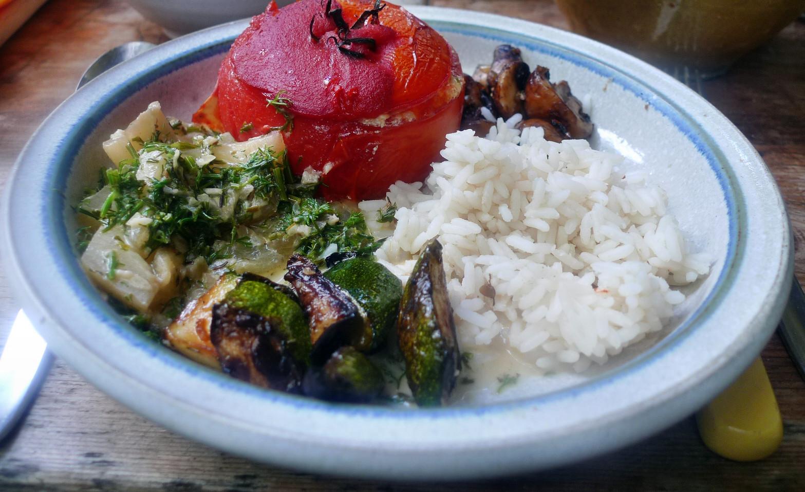 Gefüllte Tomaten,Gurkengemüse,Champignon,Zucchini,Reis-24.7.14   (13)