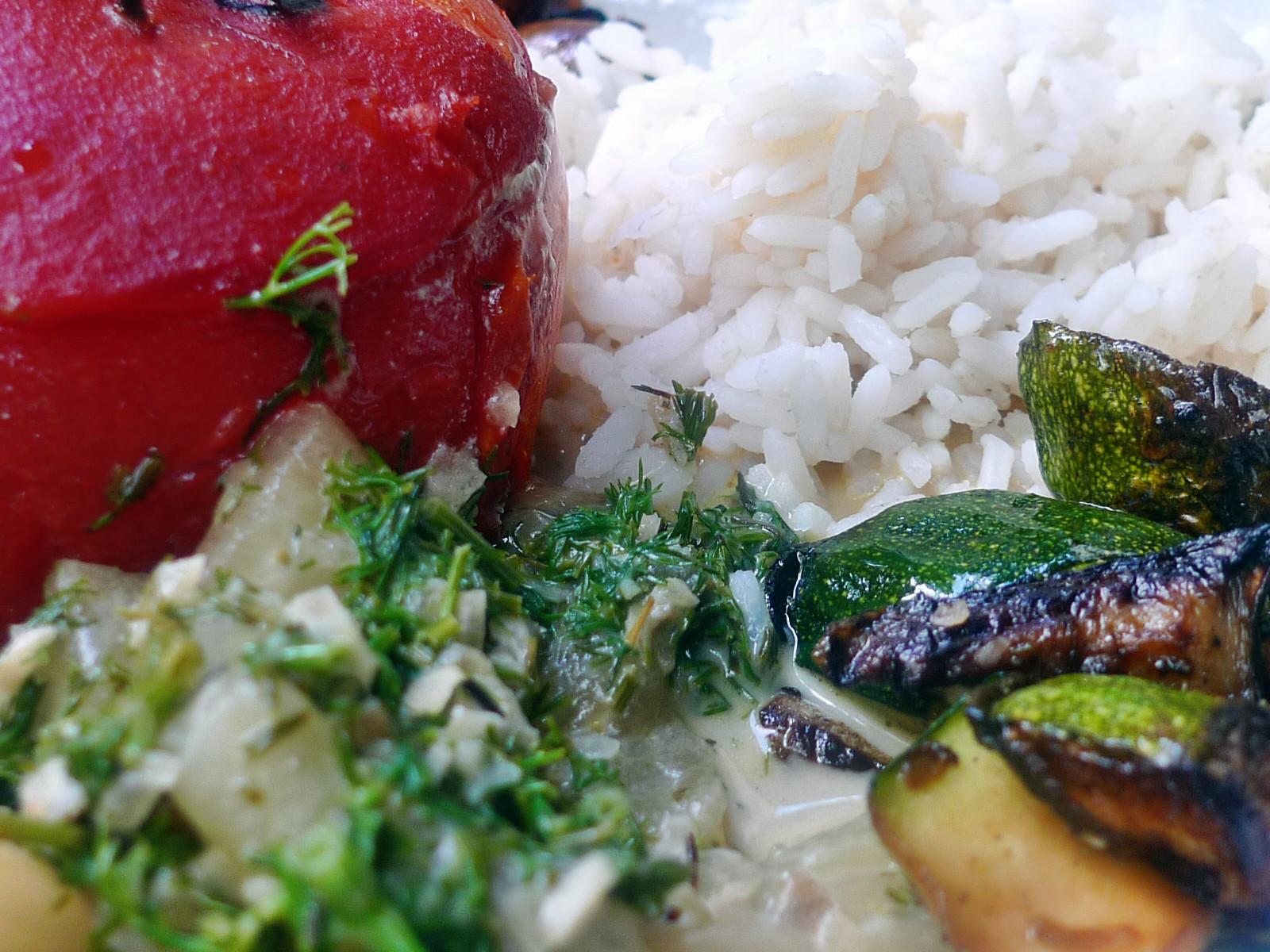 Gefüllte Tomaten,Gurkengemüse,Champignon,Zucchini,Reis-24.7.14   (15)