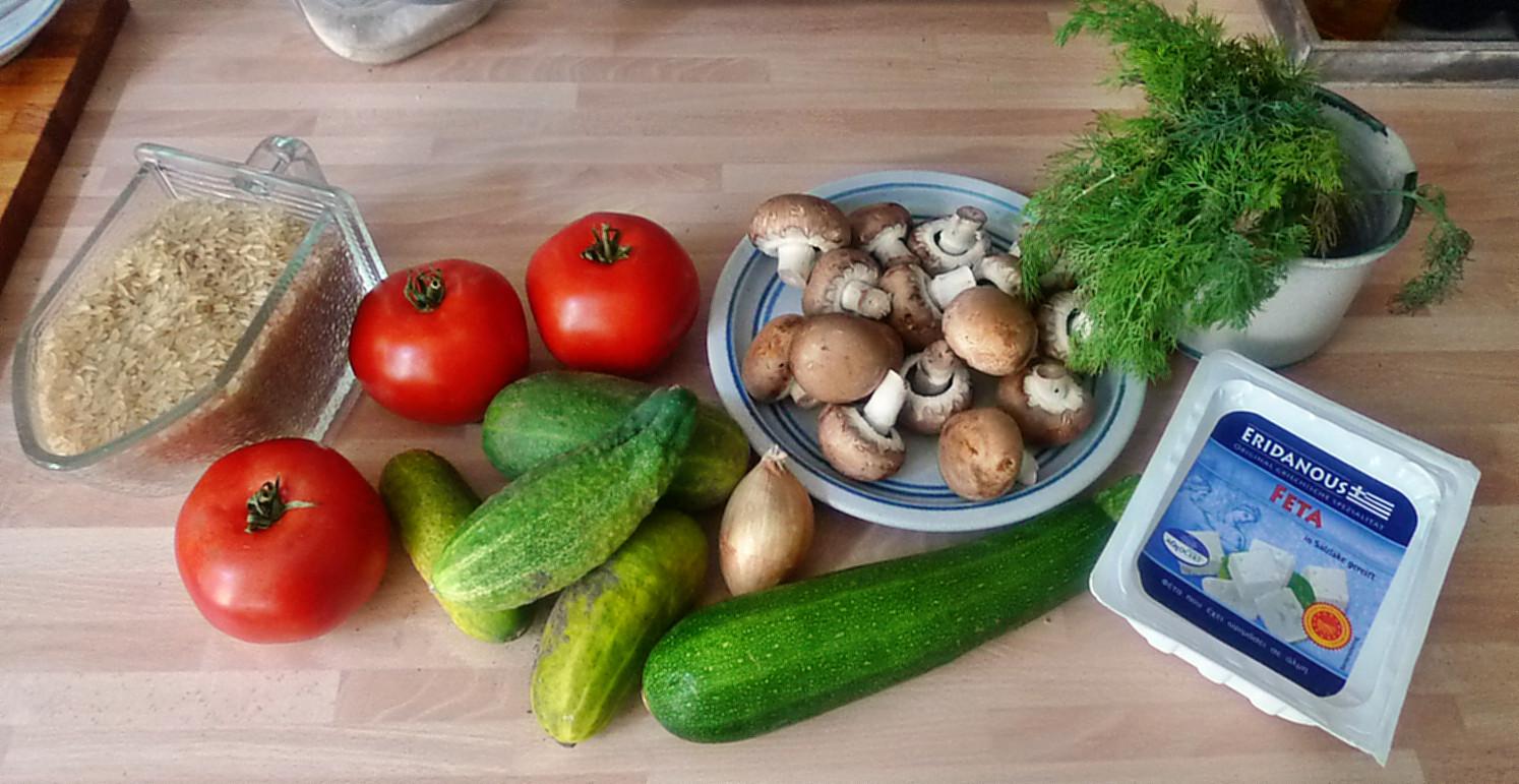 Gefüllte Tomaten,Gurkengemüse,Champignon,Zucchini,Reis-24.7.14   (3)
