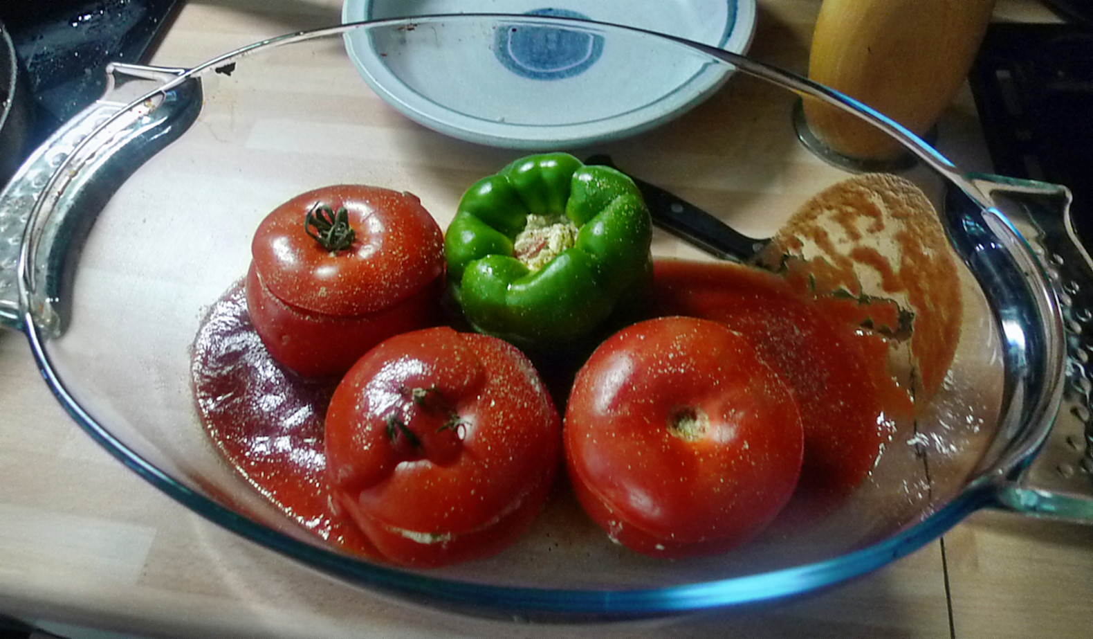 Gefüllte Tomaten,Gurkengemüse,Champignon,Zucchini,Reis-24.7.14   (7)