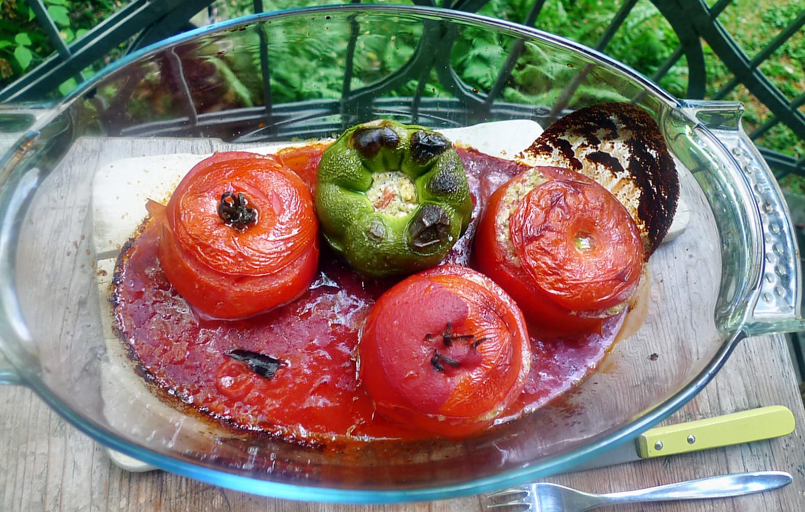 Gefüllte Tomaten,Gurkengemüse,Champignon,Zucchini,Reis-24.7.14   (8)