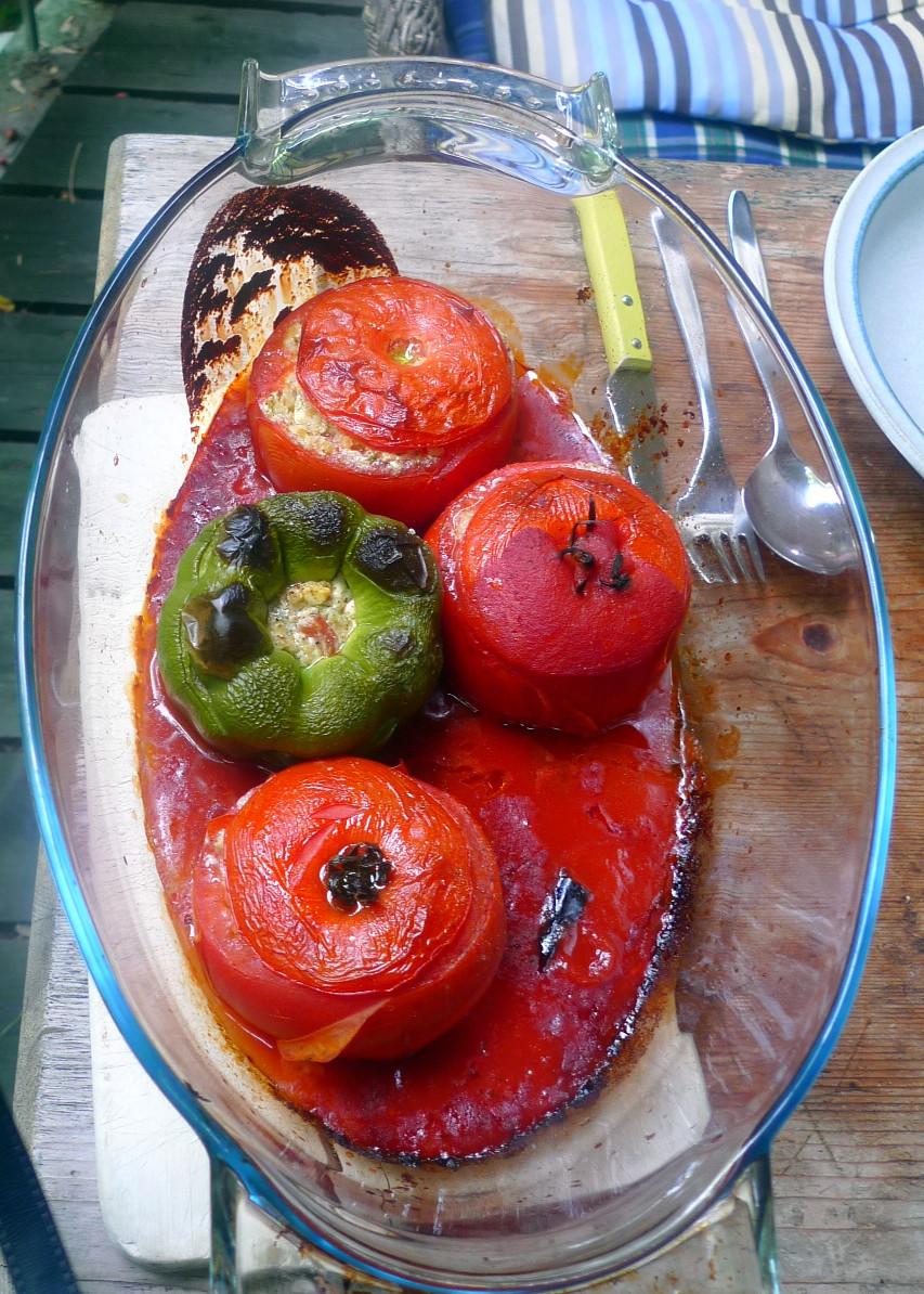 Gefüllte Tomaten,Gurkengemüse,Champignon,Zucchini,Reis-24.7.14   (8a)