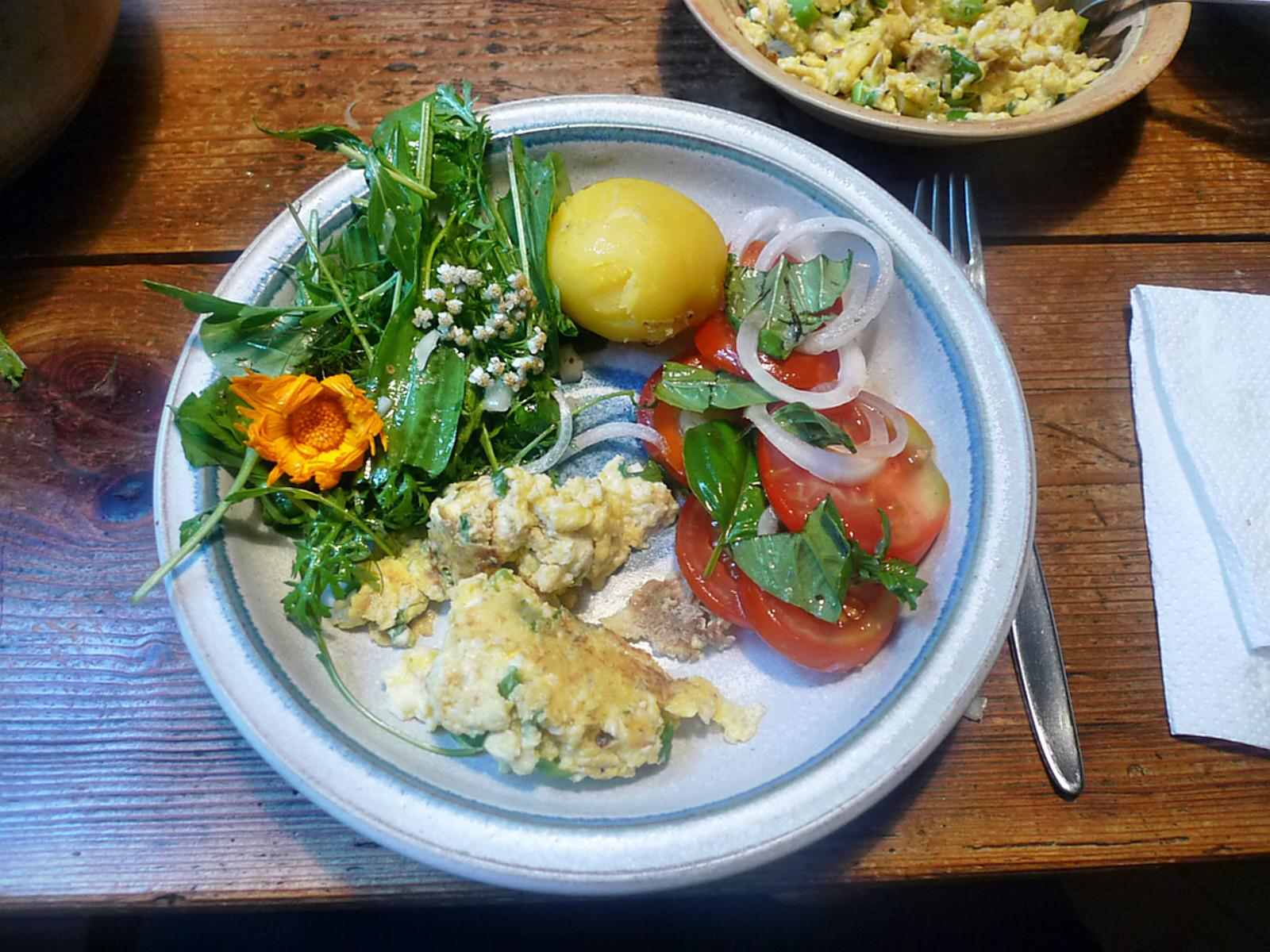 Rührei-Wildkräutersalat-Tomatensalat-Kartoffeln-25.7.14   (11)