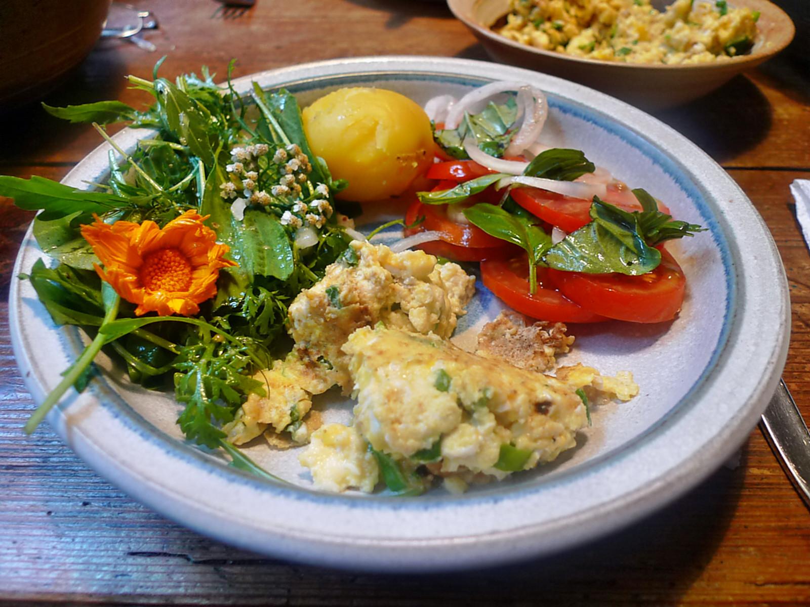 Rührei-Wildkräutersalat-Tomatensalat-Kartoffeln-25.7.14   (12)