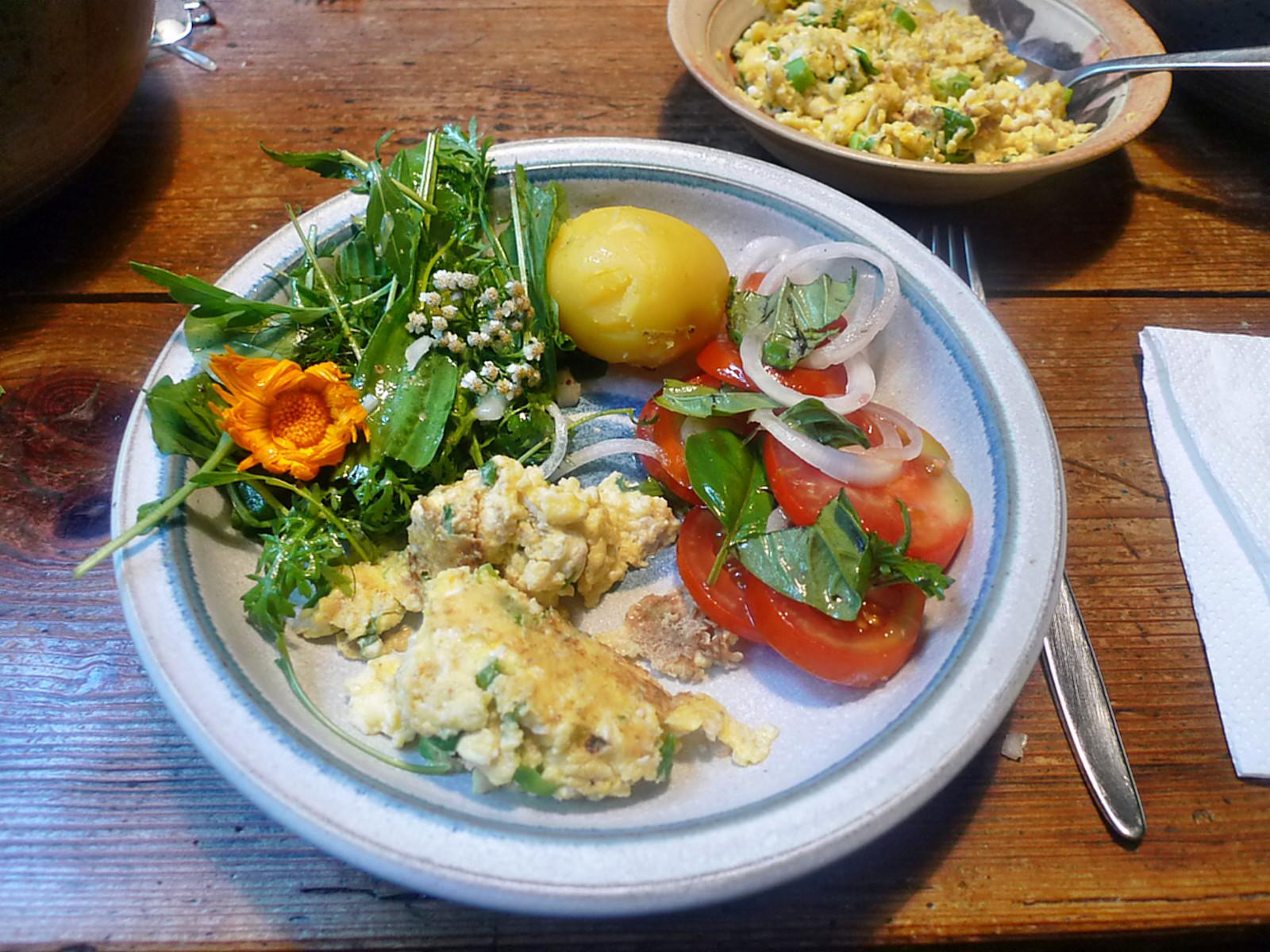 Rührei-Wildkräutersalat-Tomatensalat-Kartoffeln-25.7.14   (1)