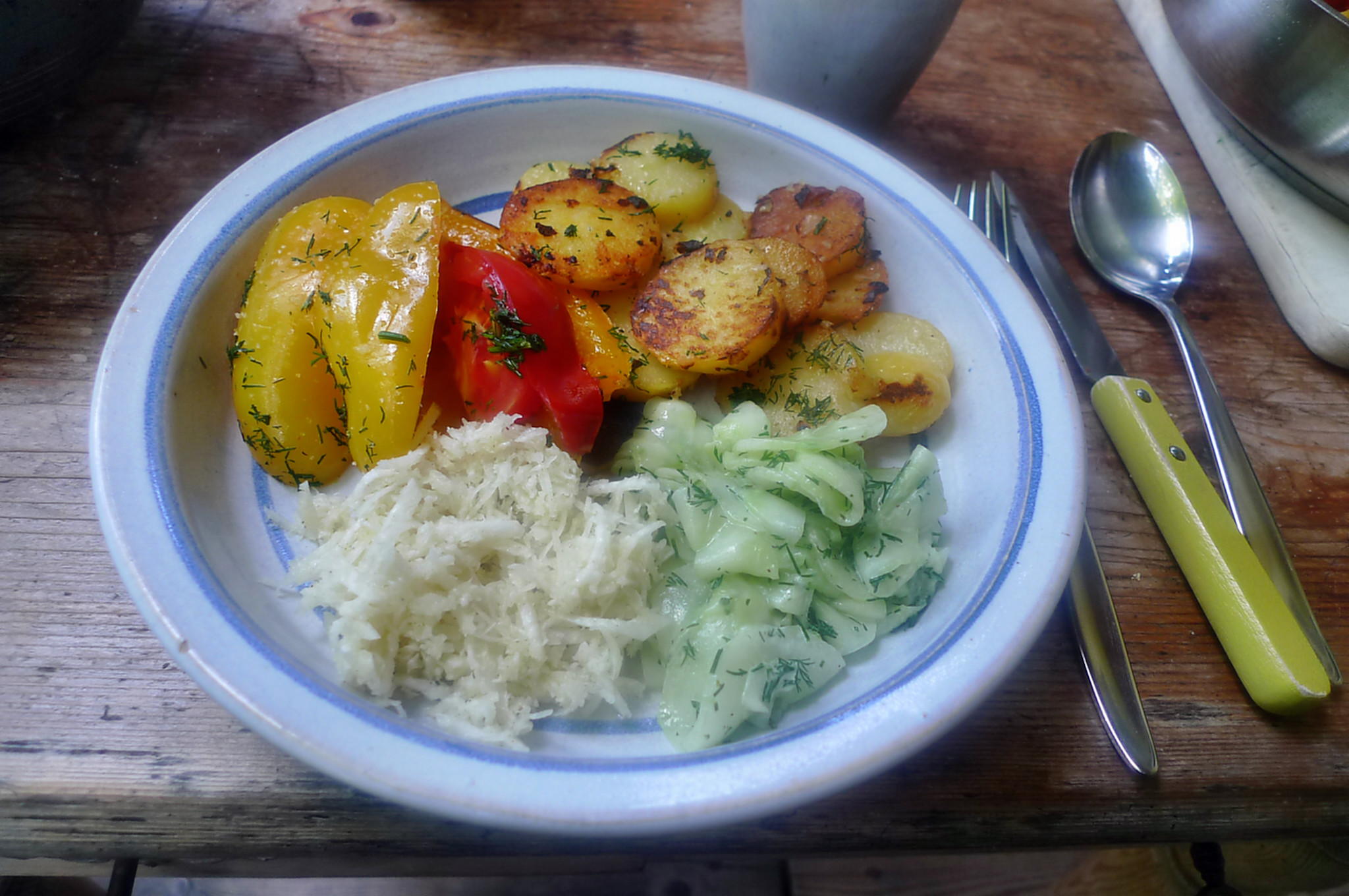 Paprika-Rettichsalat-Gurkensalat-Bratkartoffel-1.8.14   (3)