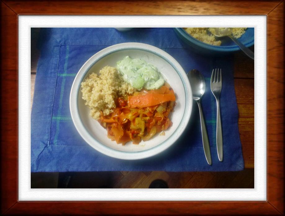 Fenchel,Möhrengemüse,Quinoa,Gurkensalat