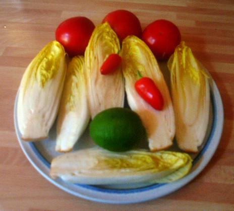 Chicoree,Kartoffeln,gebackener Feta (3)