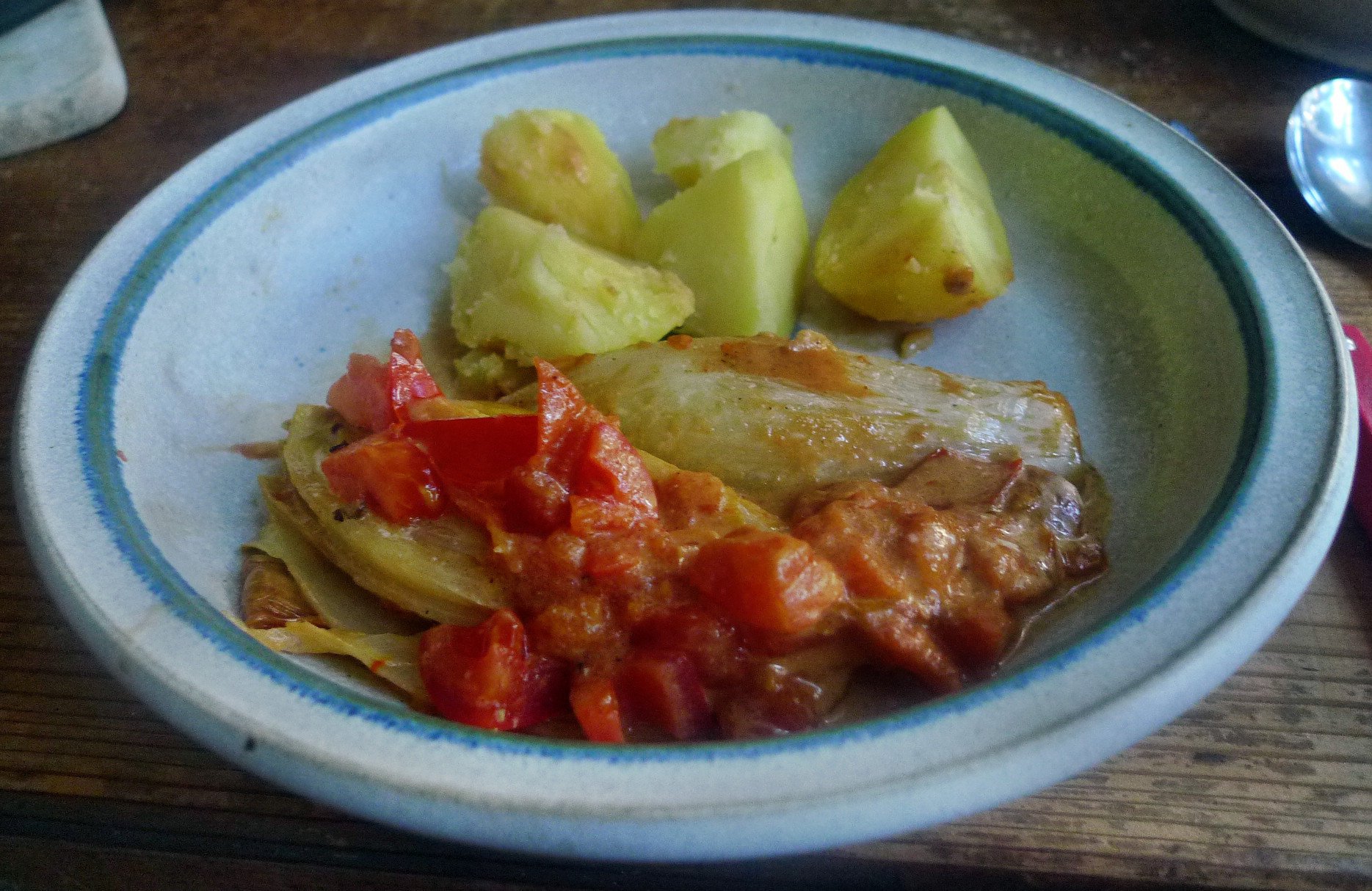 Chicoree,Salzkartoffeln,Pflaumenkompott,vegetarisch - 28.2.15   (10)