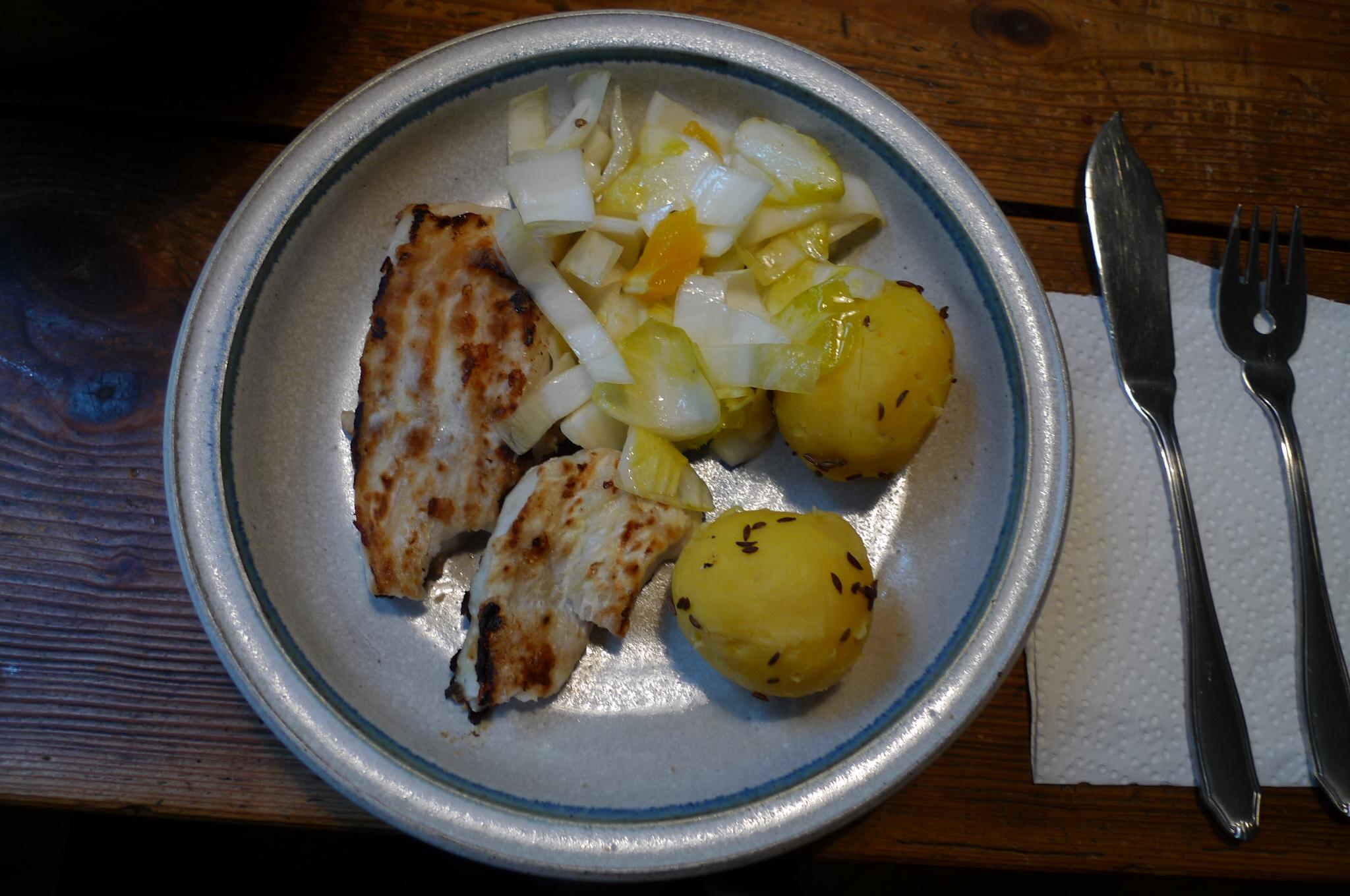 Kabeljau,Chicoreesalat,Kartoffeln,Quarkspeise - 17.2.15   (11)