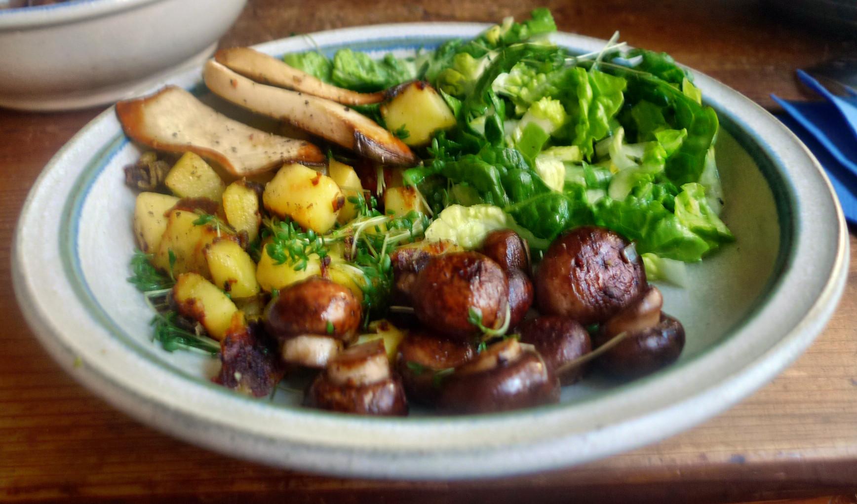 Roh gebratene Kartoffeln,Kräutersaitlinge,Champignon,Römersalat - 26.2.15   (10)