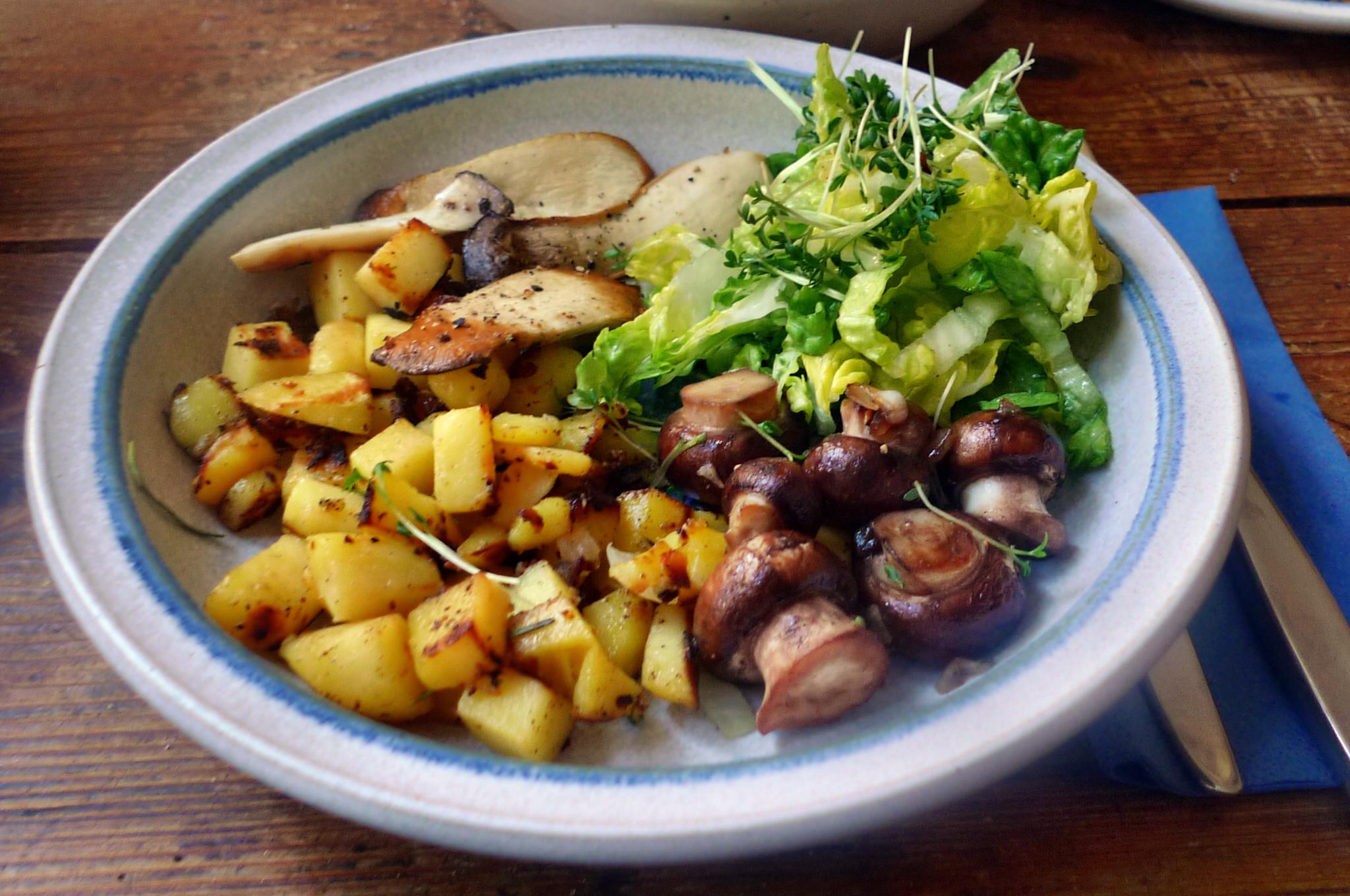 Roh gebratene Kartoffeln,Kräutersaitlinge,Champignon,Römersalat - 26.2.15   (14)