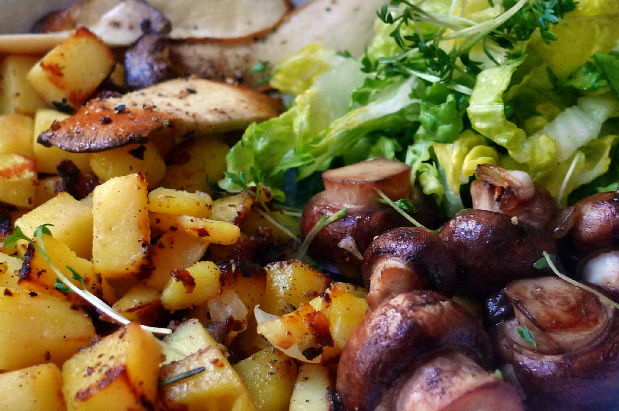 Roh gebratene Kartoffeln,Kräutersaitlinge,Champignon,Römersalat - 26.2.15   (15)