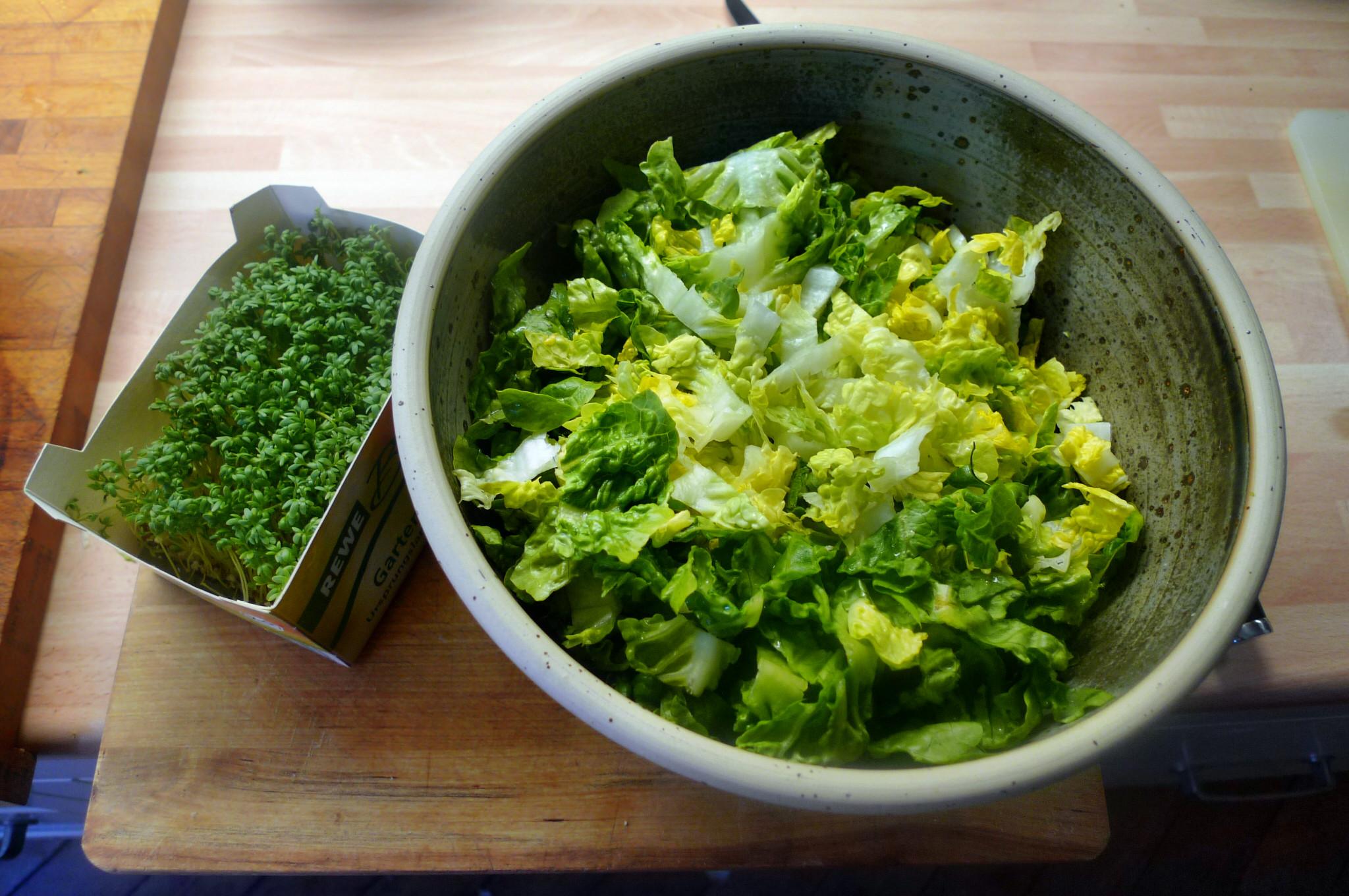 Roh gebratene Kartoffeln,Kräutersaitlinge,Champignon,Römersalat - 26.2.15   (7)