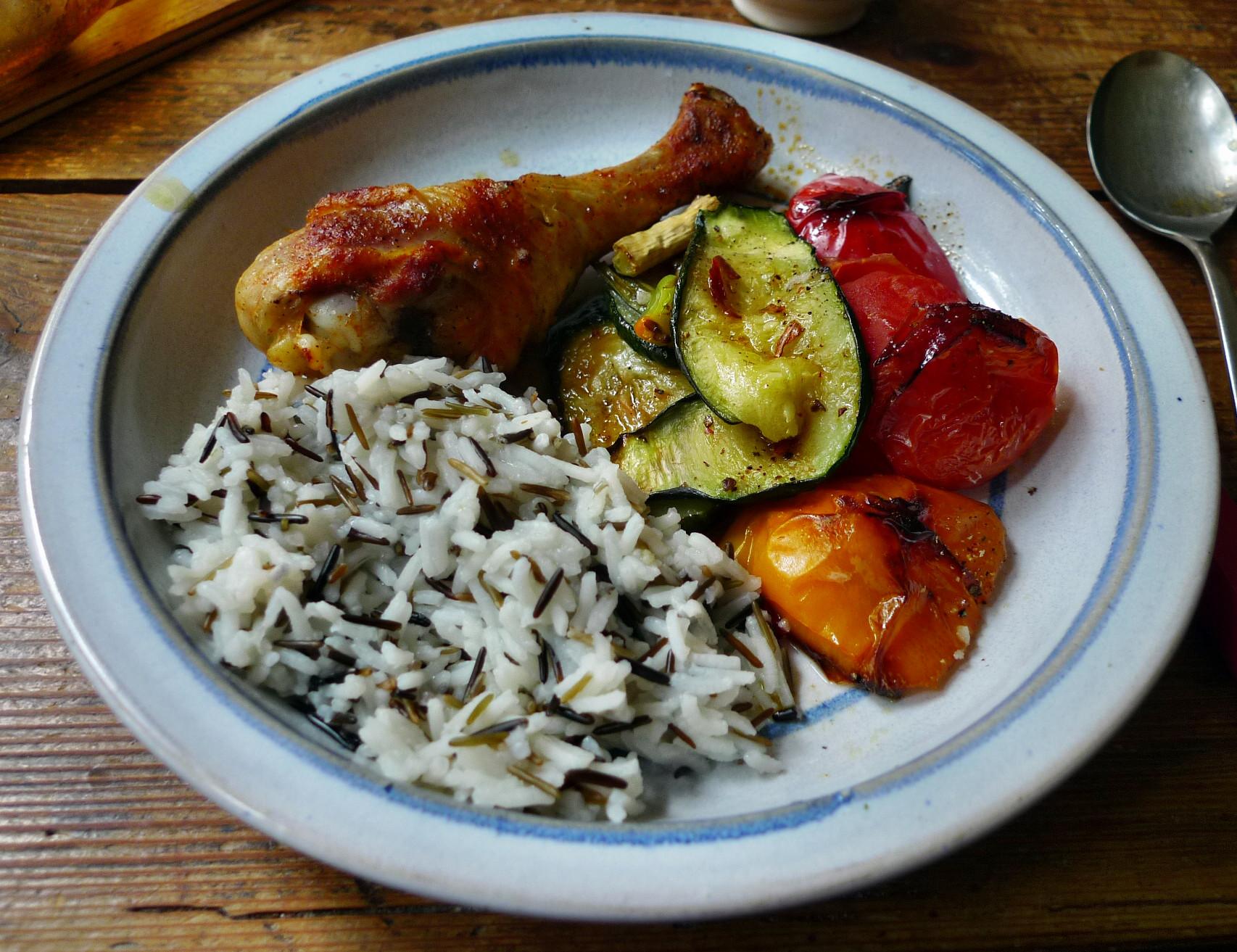 Blechgemüse,Reis,Hähnchenshenkel (15)