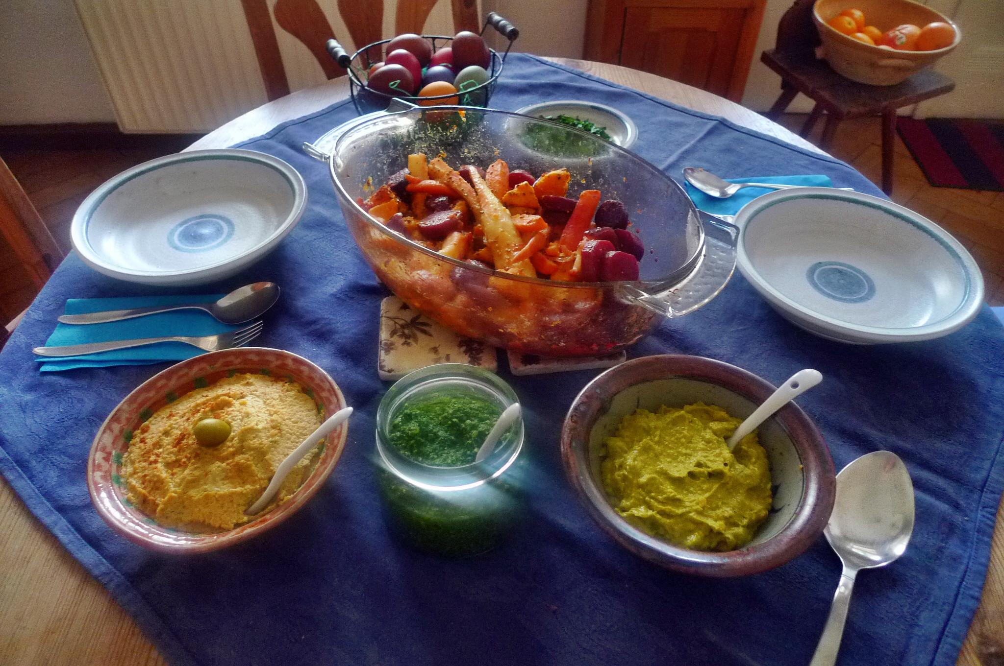 Ofengebackenes Würzelgemüse,Hummus,Guacamole -5.4.15   (11)