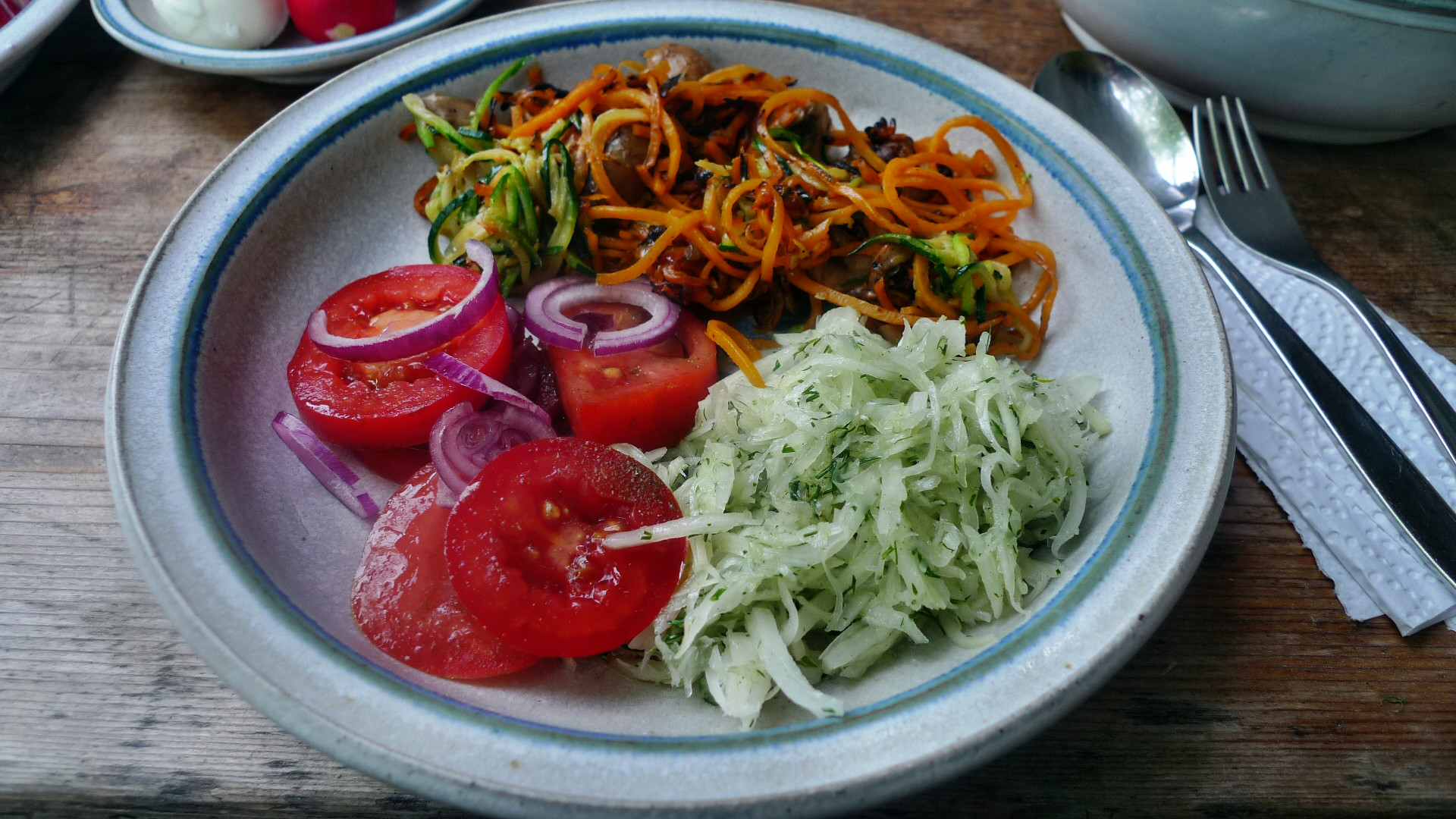 Gemüsespaghetti mit Champignon,Kohlrabisalat,Tomatensalat,vegan -5.5.15   (13)