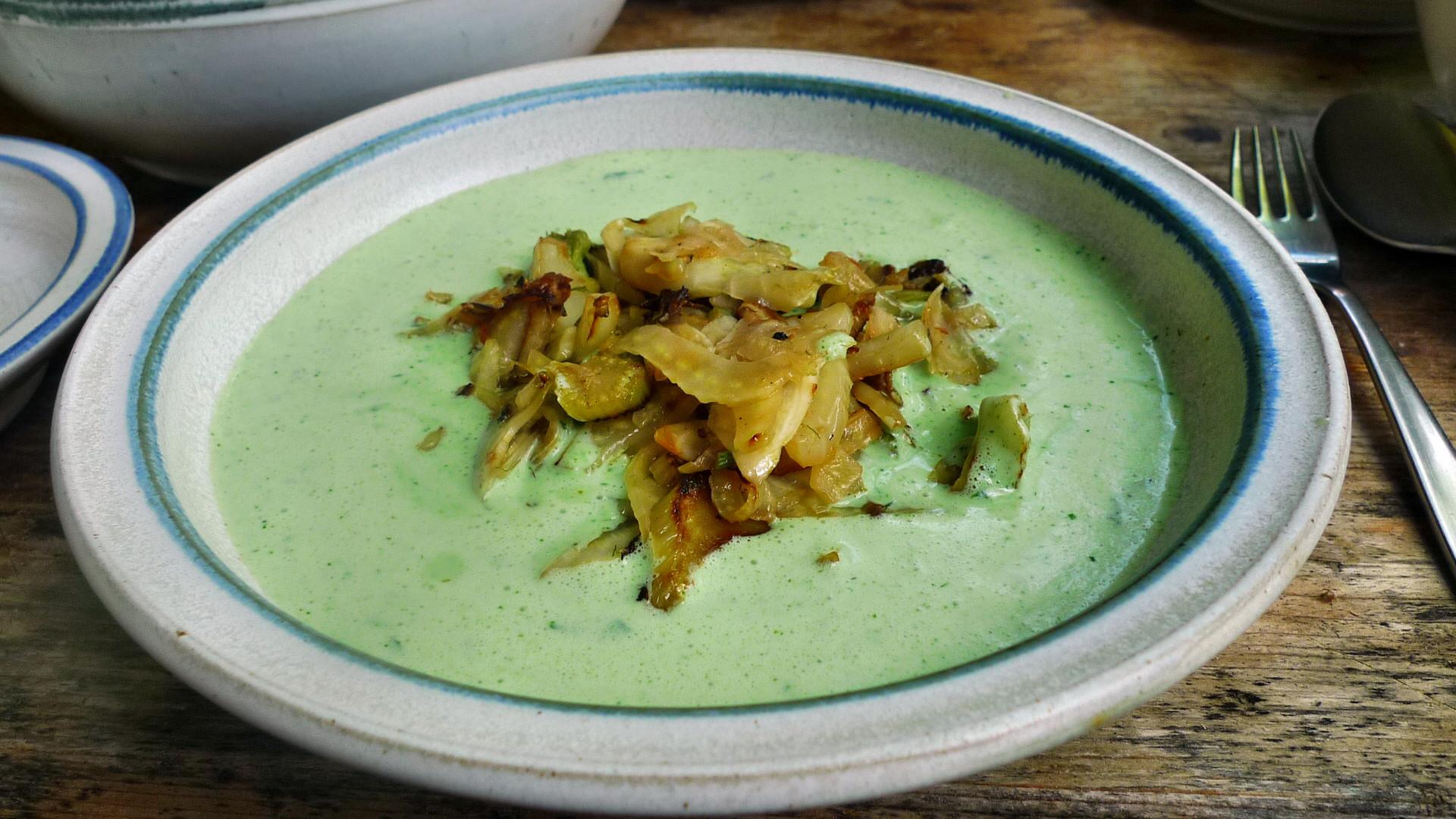 Kalte Kräutersuppe,gebratener Fenchel,Tomatensalat - 4.5.15   (11)