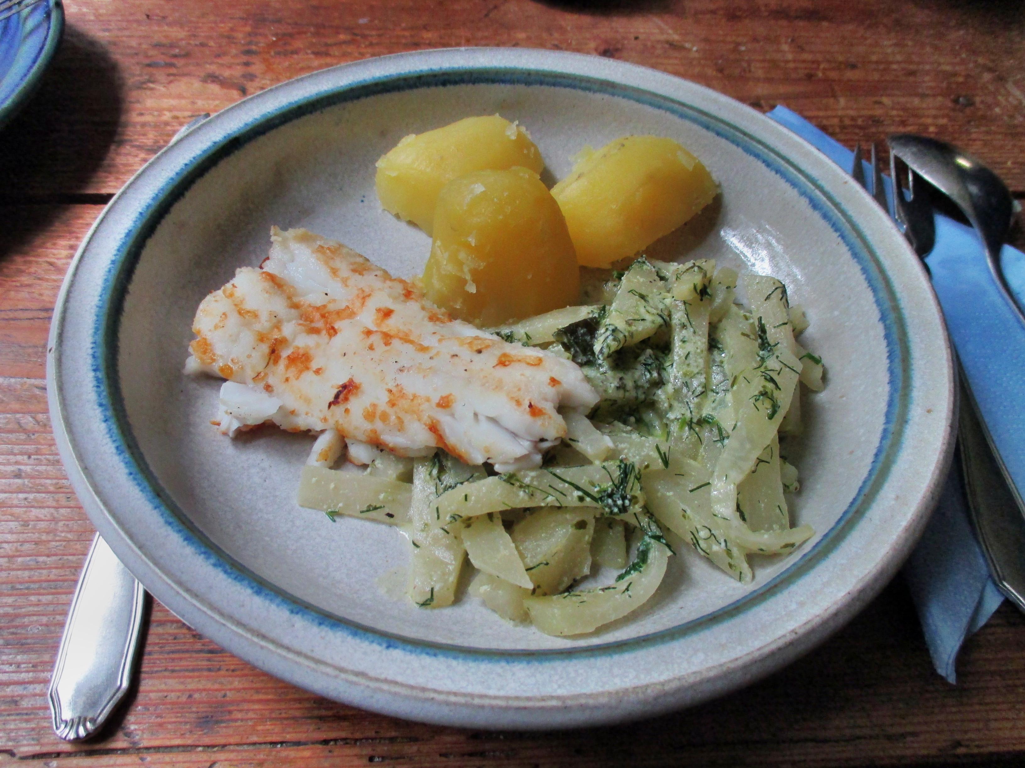 Kabeljau,Kohlrabigemüse,Salzkartoffeln,Salat -9.6.15   (11)