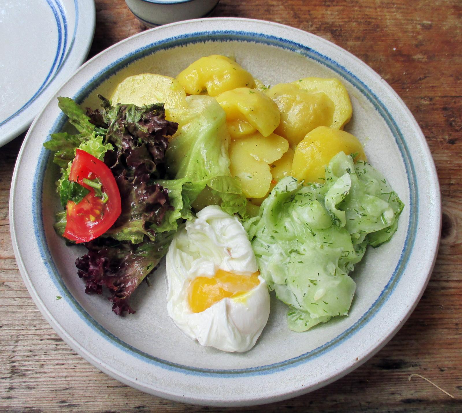 Kartoffelsalat,pochiertes Ei,Salate - 12.7.15   (8)