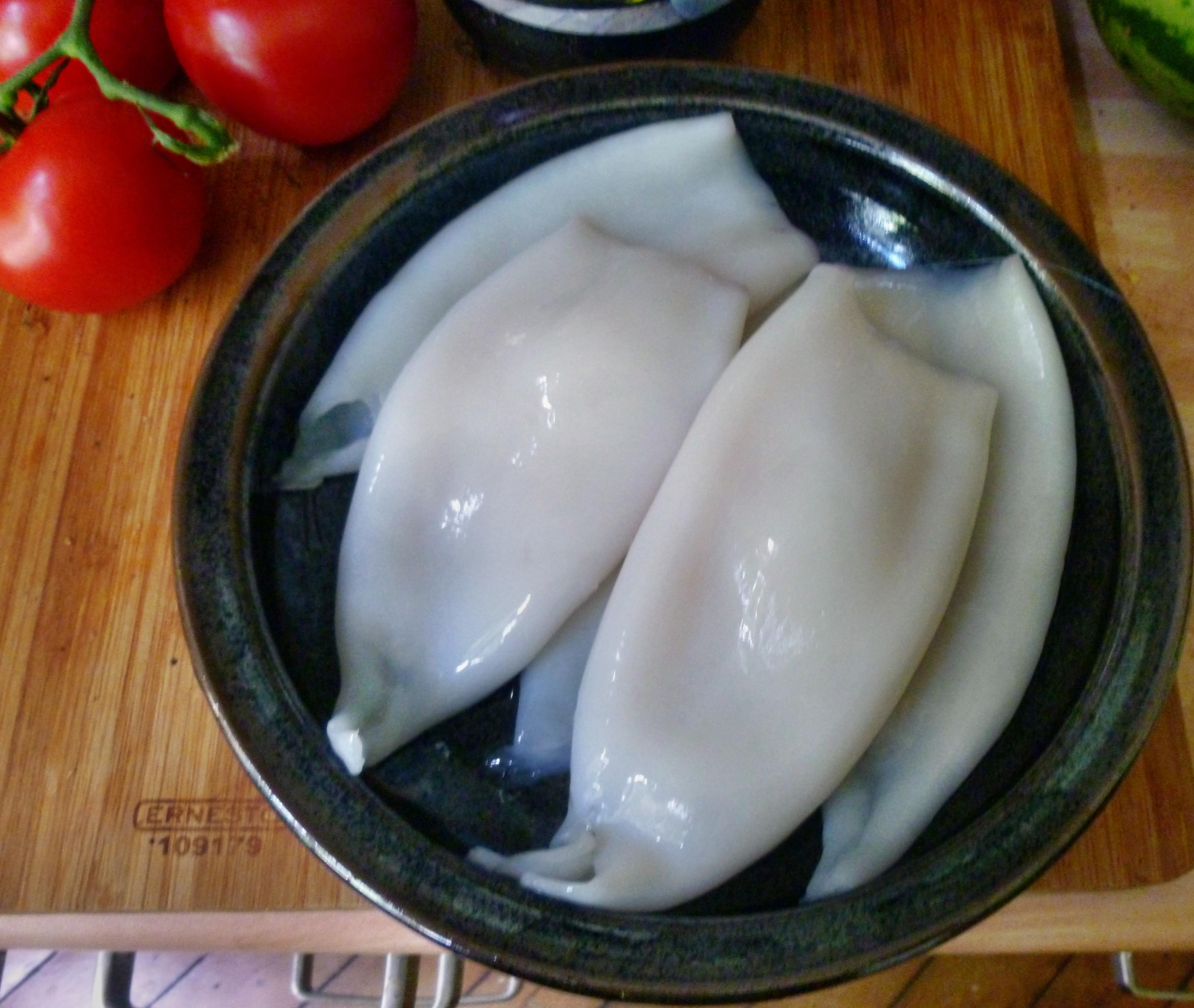 Tintenfisch Tuben,Reis,Tomatensalat,Melone -18.7.15   (1)