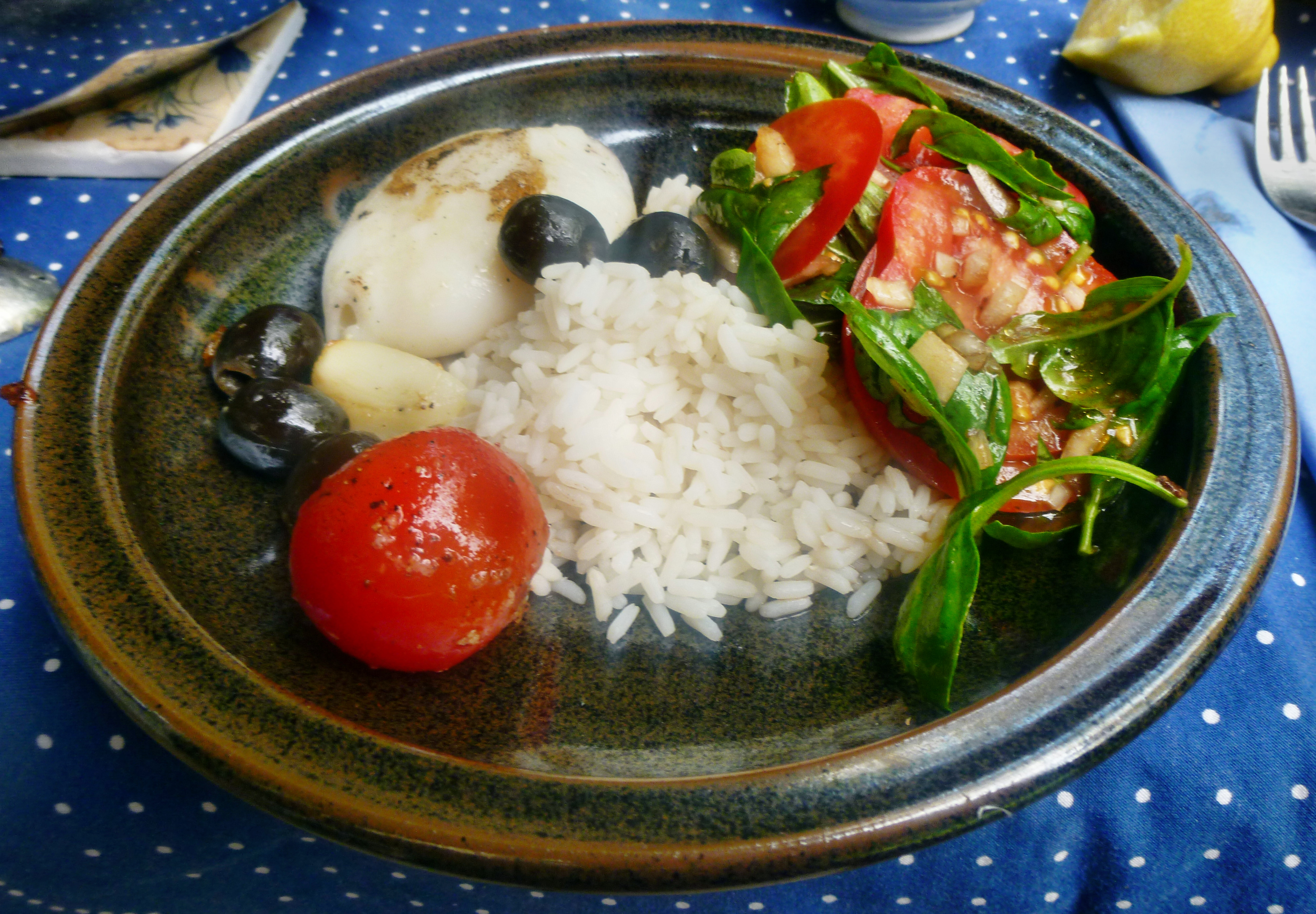 Tintenfisch Tuben,Reis,Tomatensalat,Melone -18.7.15   (12)