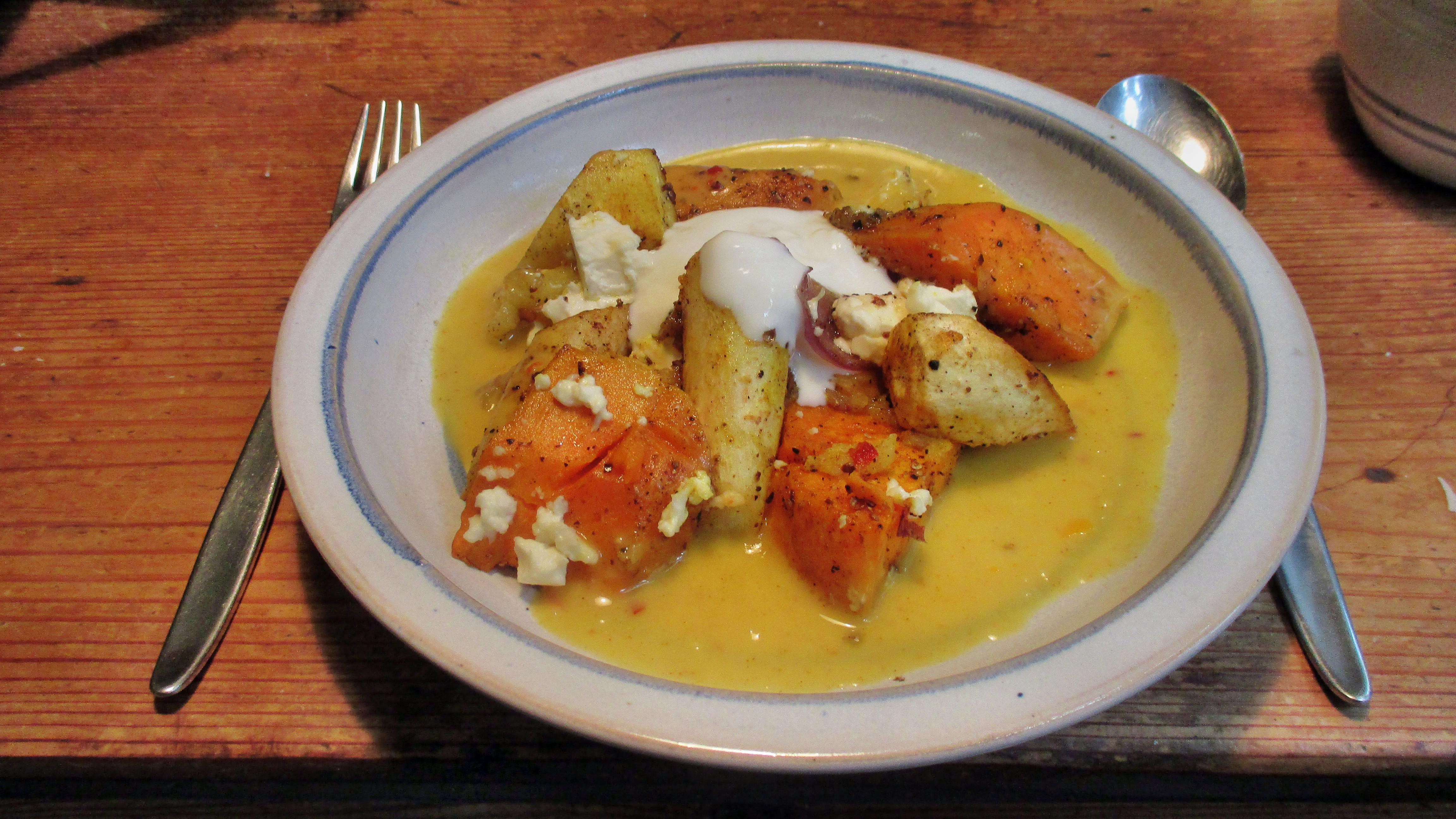 Pastinaken,Kartoffel Pfanne,Orangensoße - 10.11.15   (2a) (1)
