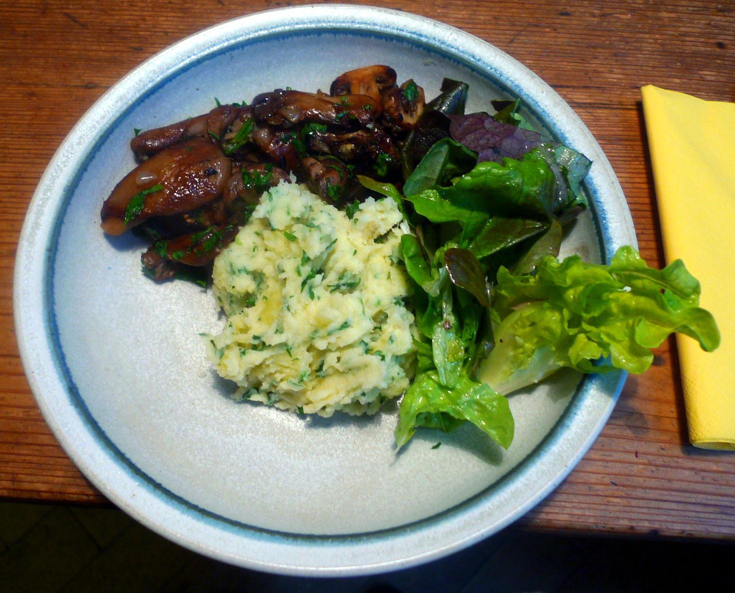 30.1.16 - Pilze,Kartoffelstampf,Salat,vegetarisch (1)