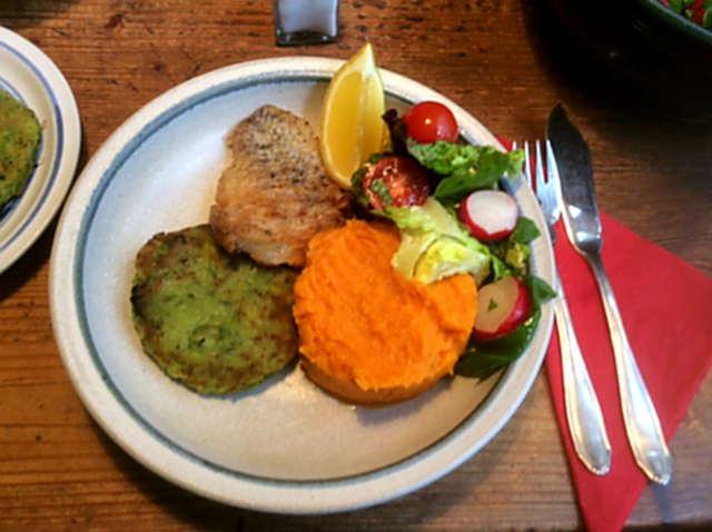 25.3.16 - Rotbarsch,Süßkartoffelpürree,Salat,Petersiliensoße (1)