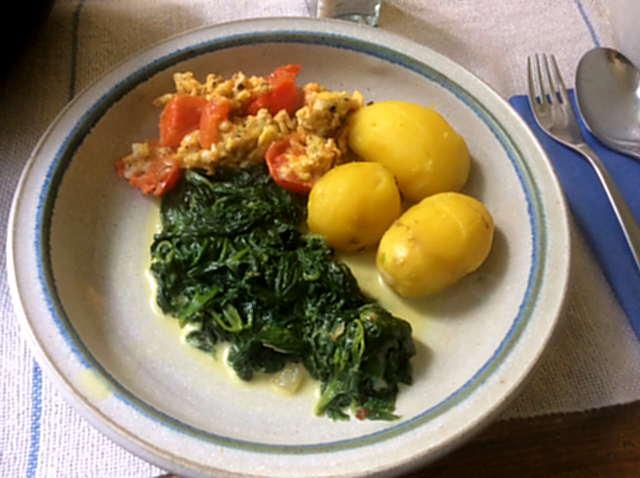 26.4.16 - Spinat,Rührei,Kartoffeln,vegetarisch (1)