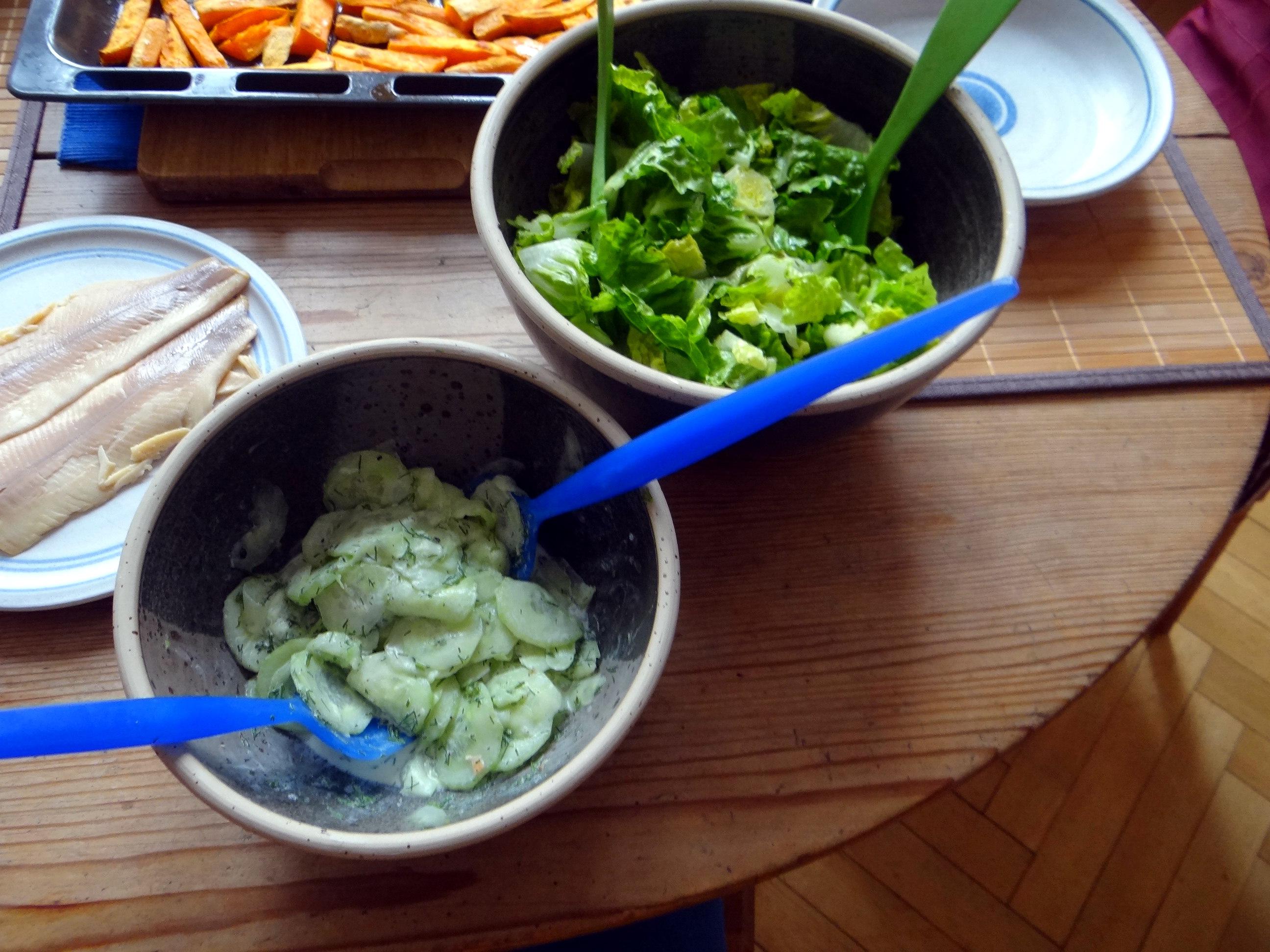 Süßkartoffel Pommes,Salate,Obszsalat (13)