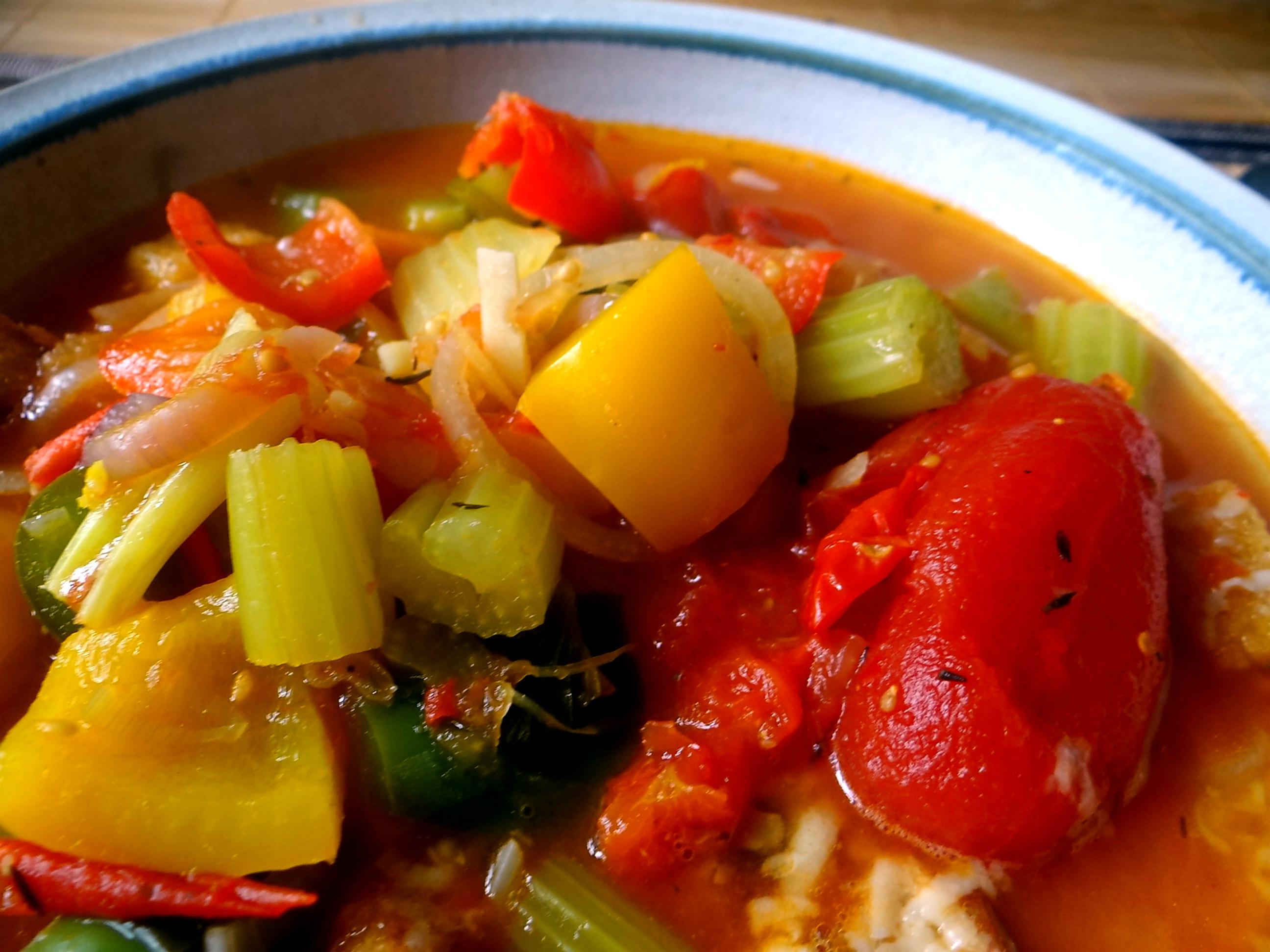 Minestra mit Bleichsellerie un Paprika,Obstsalat,vegetarisch (21)