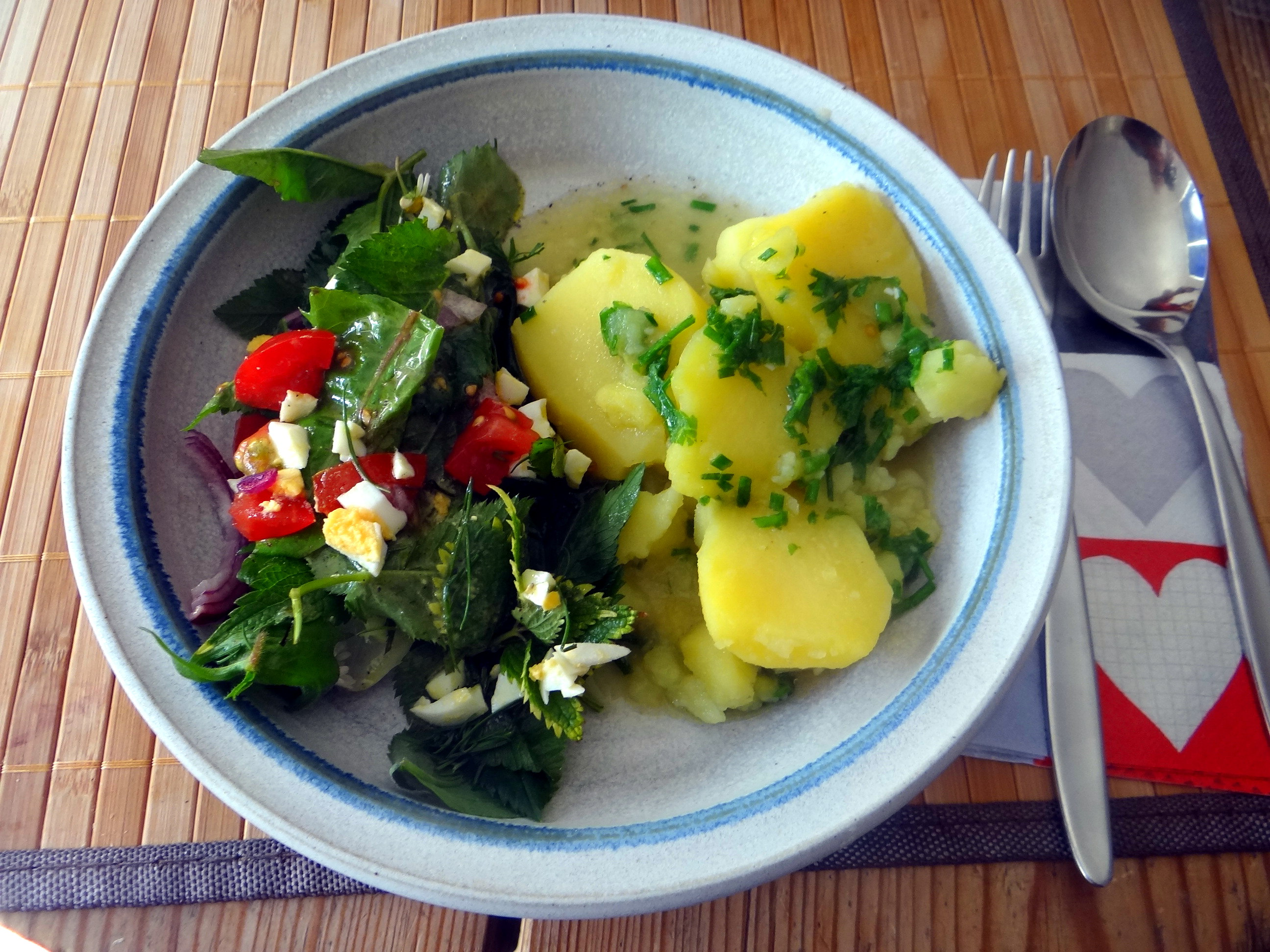 Wildkräuter Salat,Boullion Kartoffeln (23)