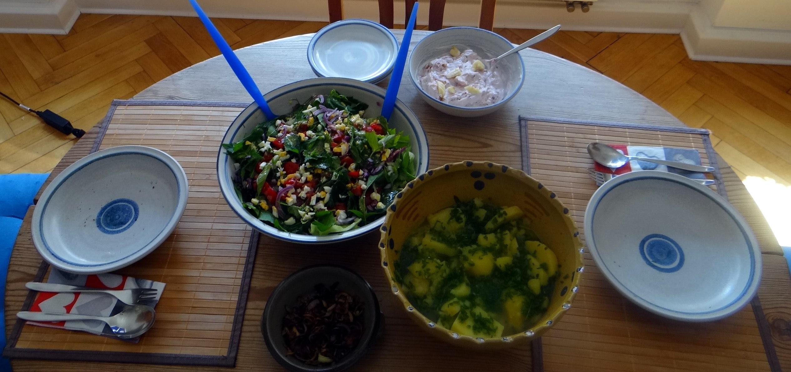 Wildkräuter Salat,Boullion Kartoffeln (3)