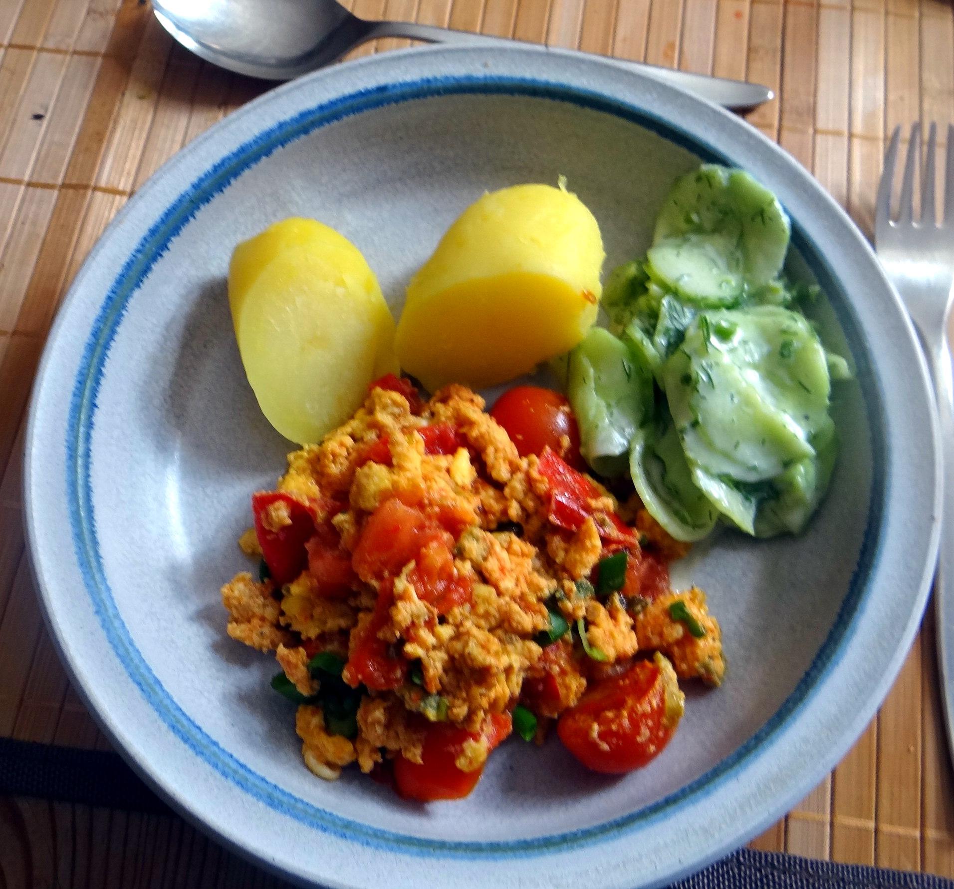 Rührei mit Tomaten,Pellkartoffeln,Gurkensalat,Erdbeeren,vegetarisch (14)
