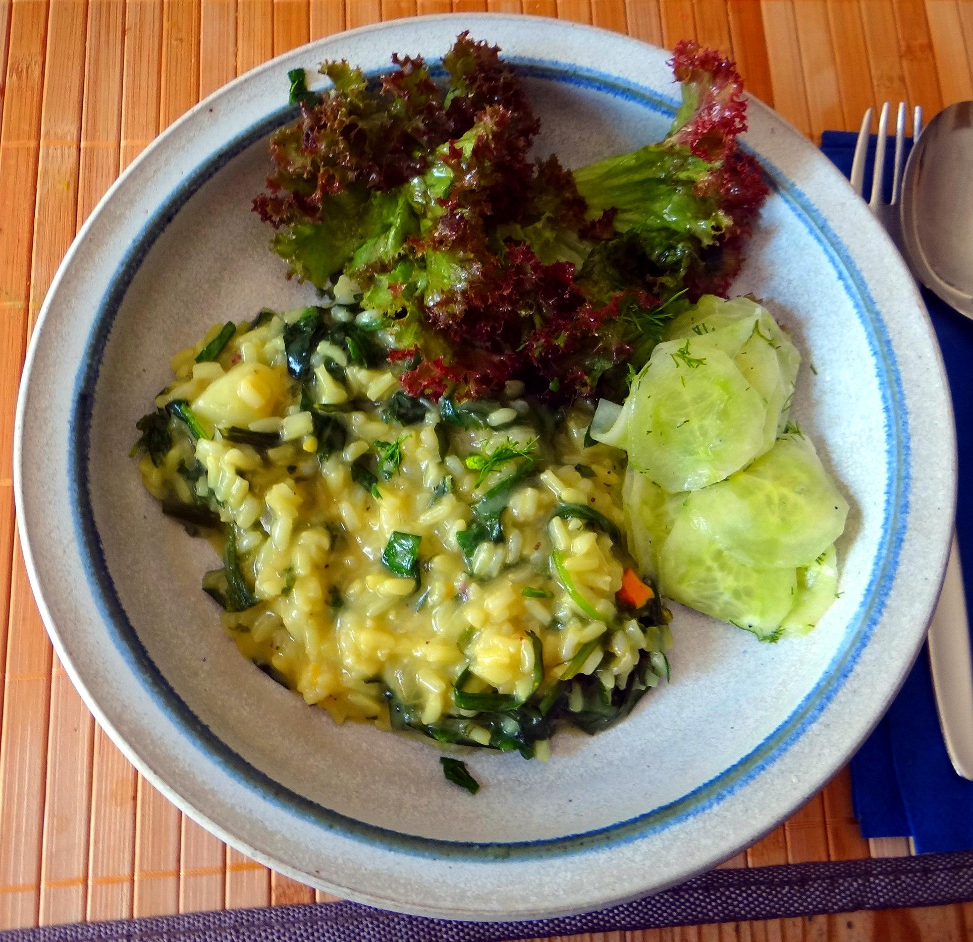 Zitronenrisotto mit Wildkräutern,Gurkensalat,Lollo Rosso,vegetarisch (2)