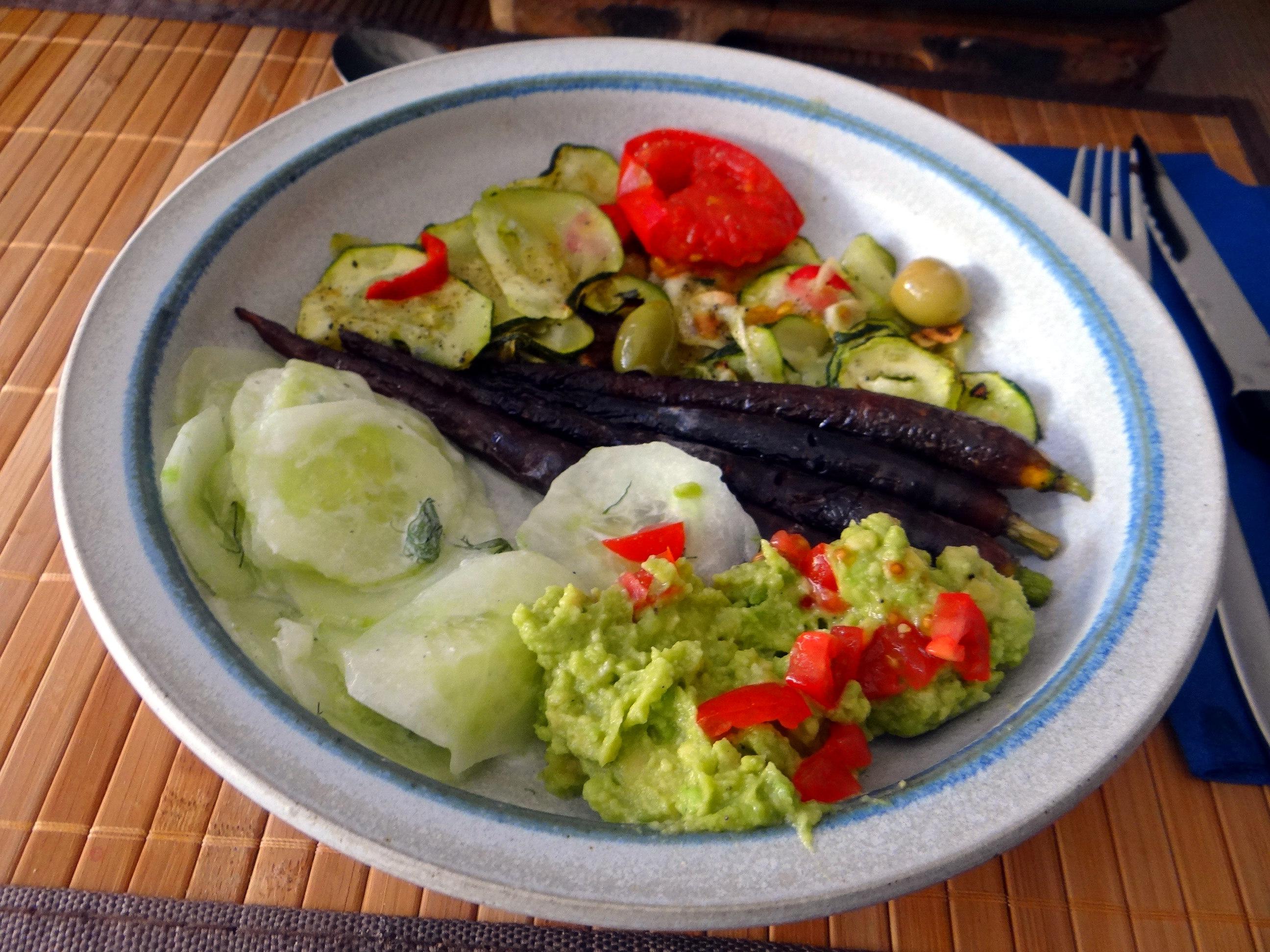 Lauwarmer Zucchinisalt,gedämpfte Möhren,Gurkensalat,Guacamole (16)