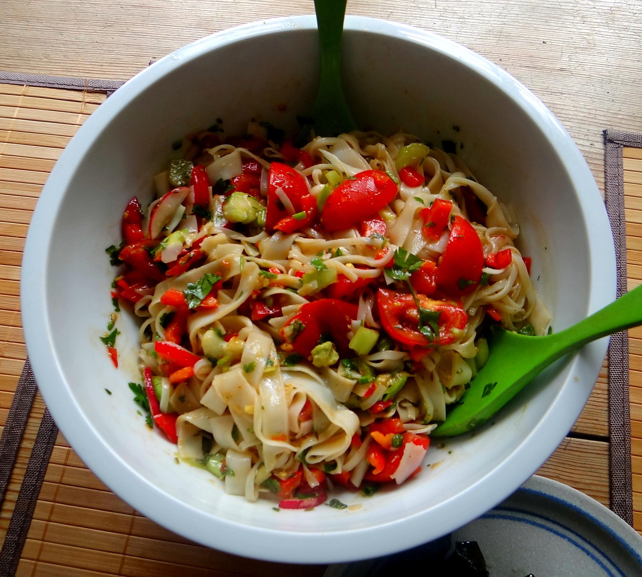 Reisnudelsalat-leicht asiatisch,gefüllte Weinblätter,Apfelmus (3)