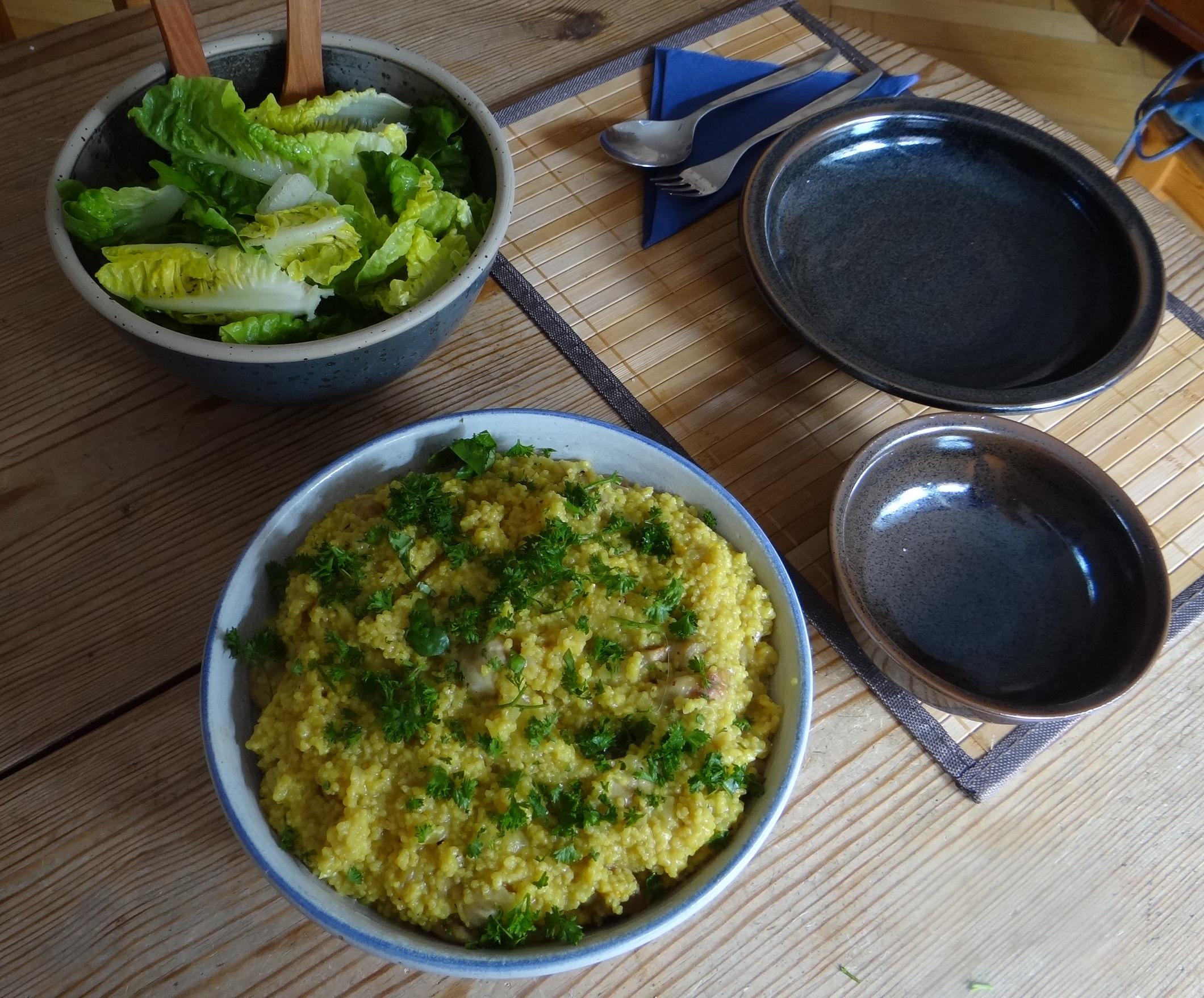 Hirsotto mit Champignon,Salat,Joghurt Eis,vegetarisch (4)