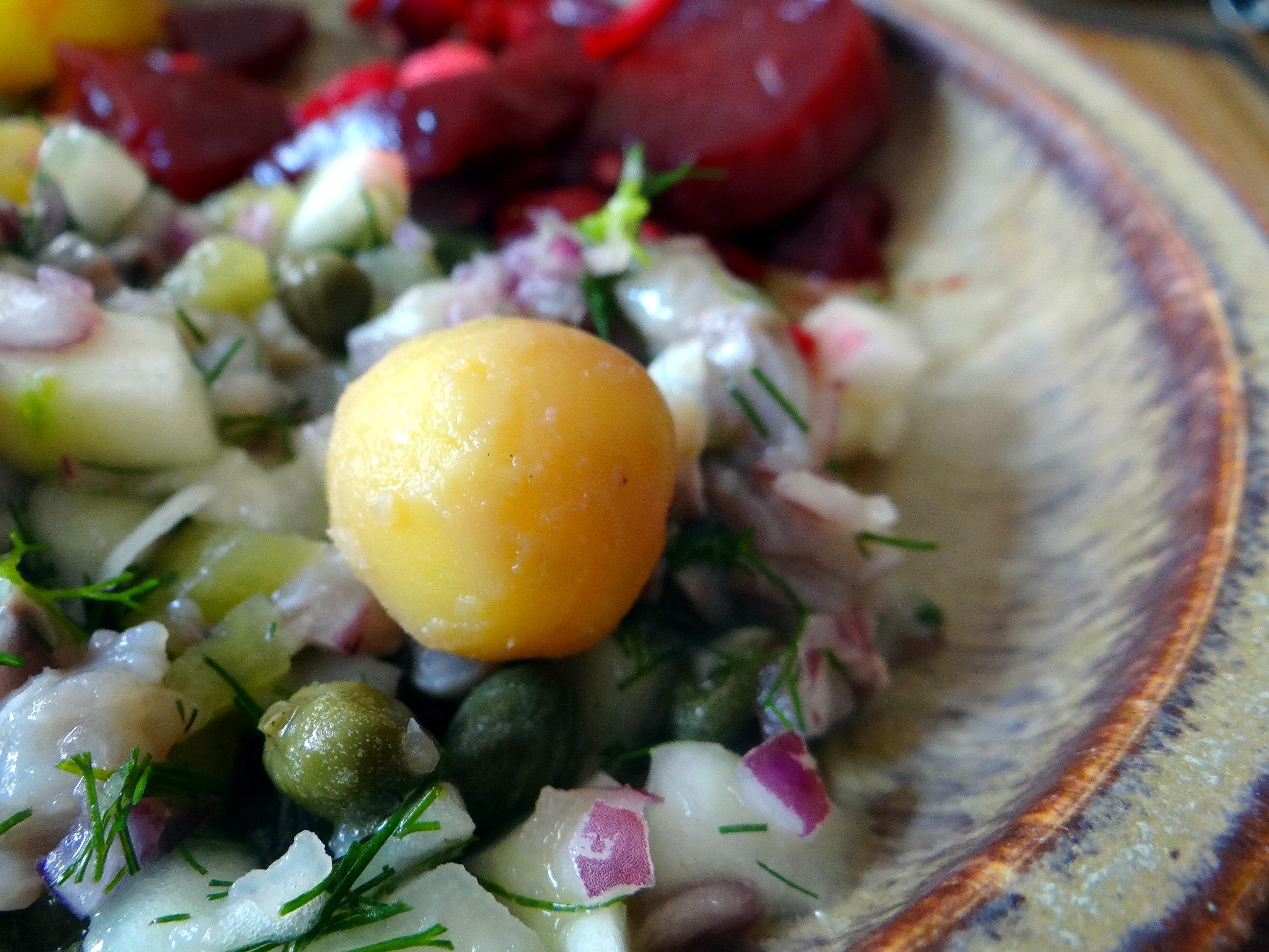 Matjes Tatar,Rote Beete Salat,Pellkartoffeln,Apfelkompott (3)