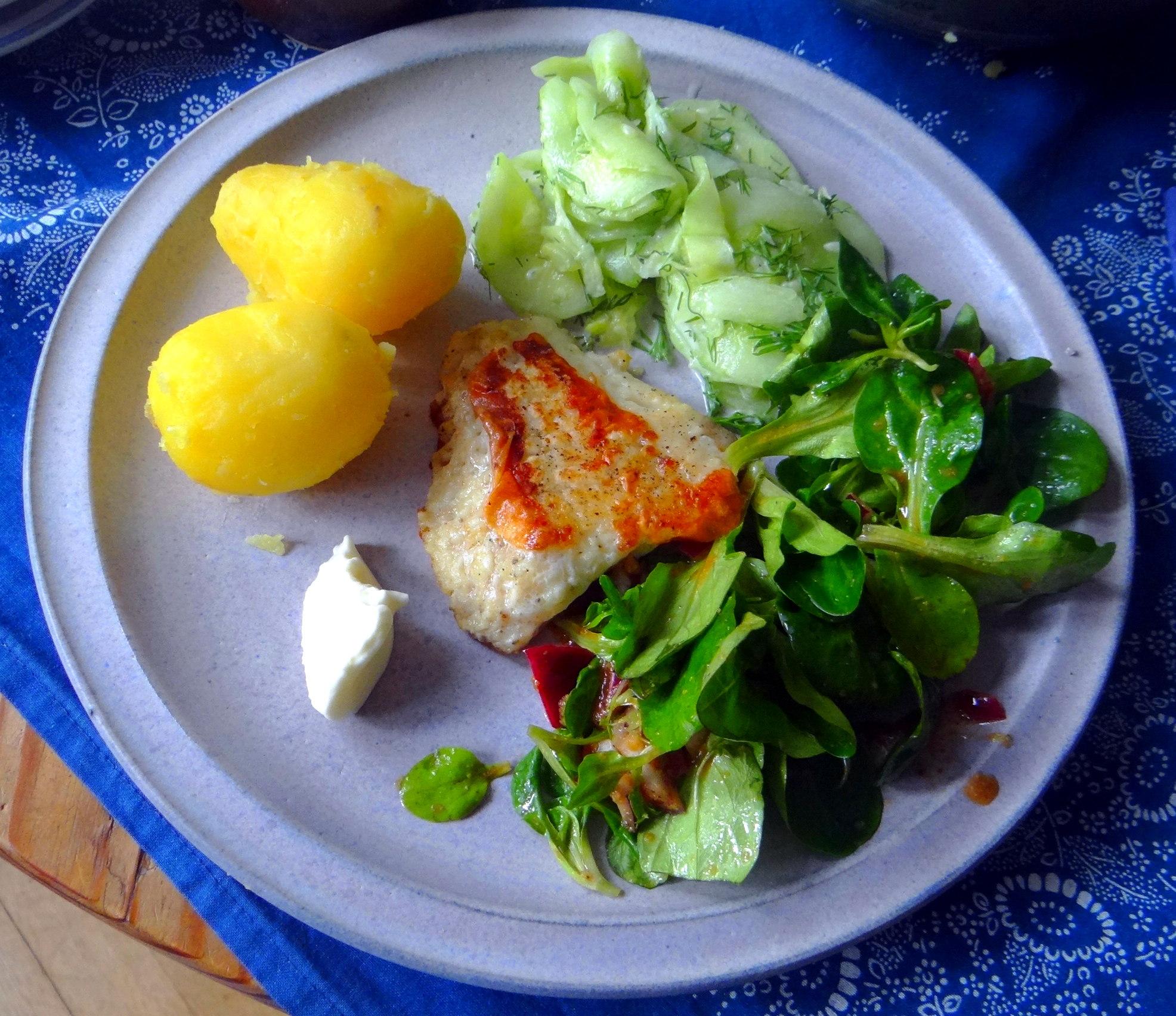 Rotbarsch,Salate,gebackene Quitten (12)