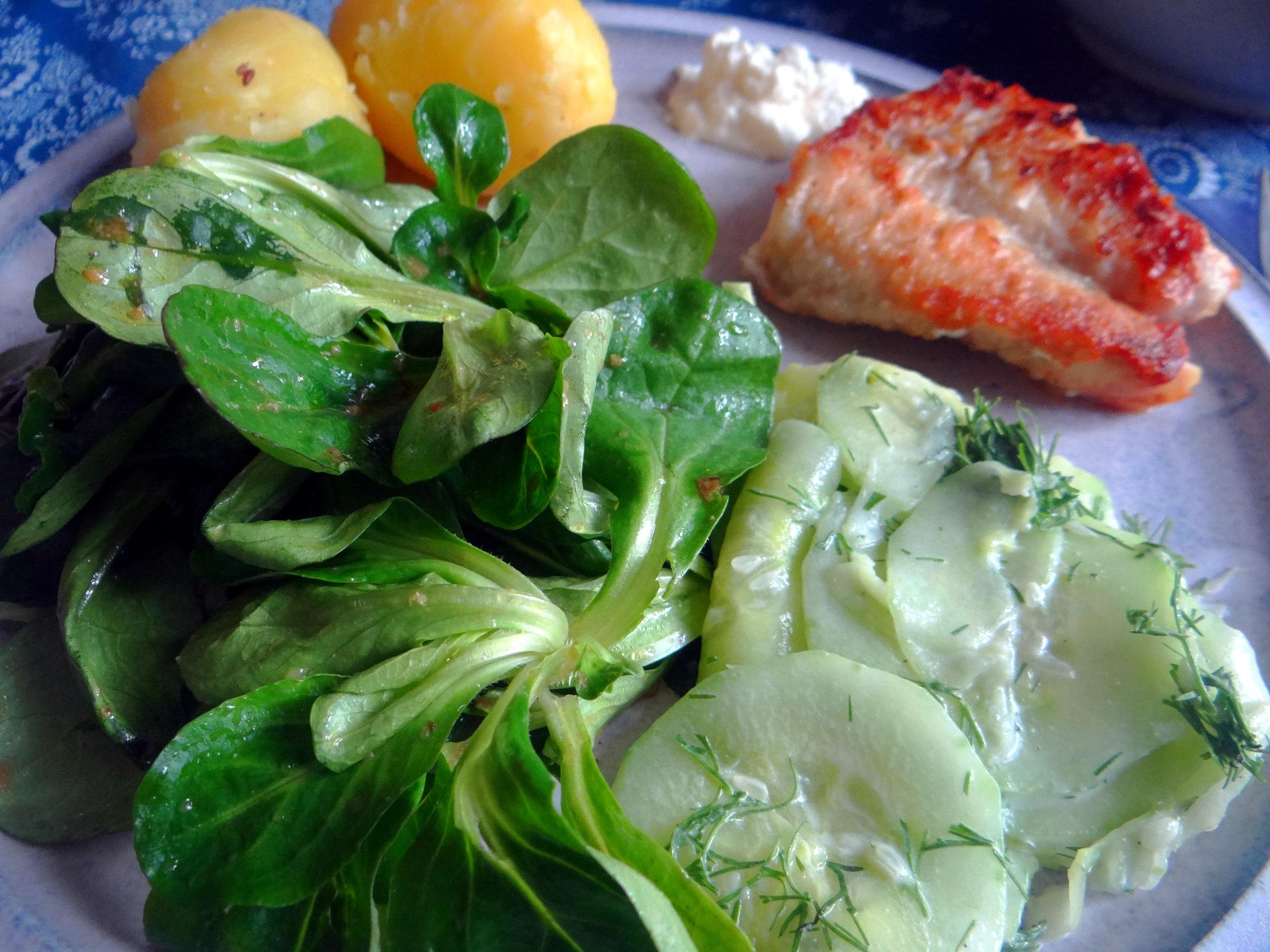 Rotbarsch,Salate,gebackene Quitten (15)