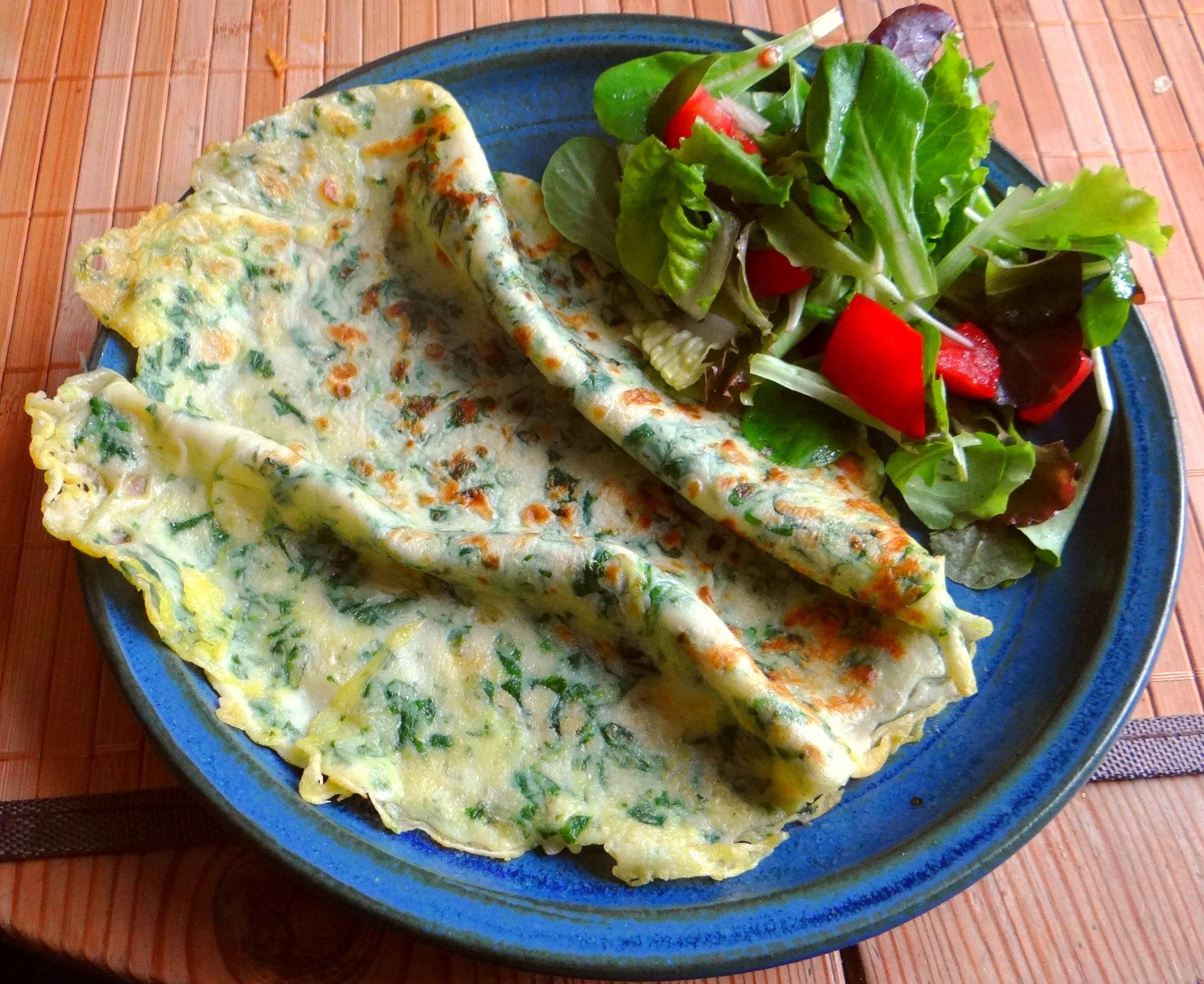 Eierpfannkuchen mit Spinat,Pflücksalat (19)