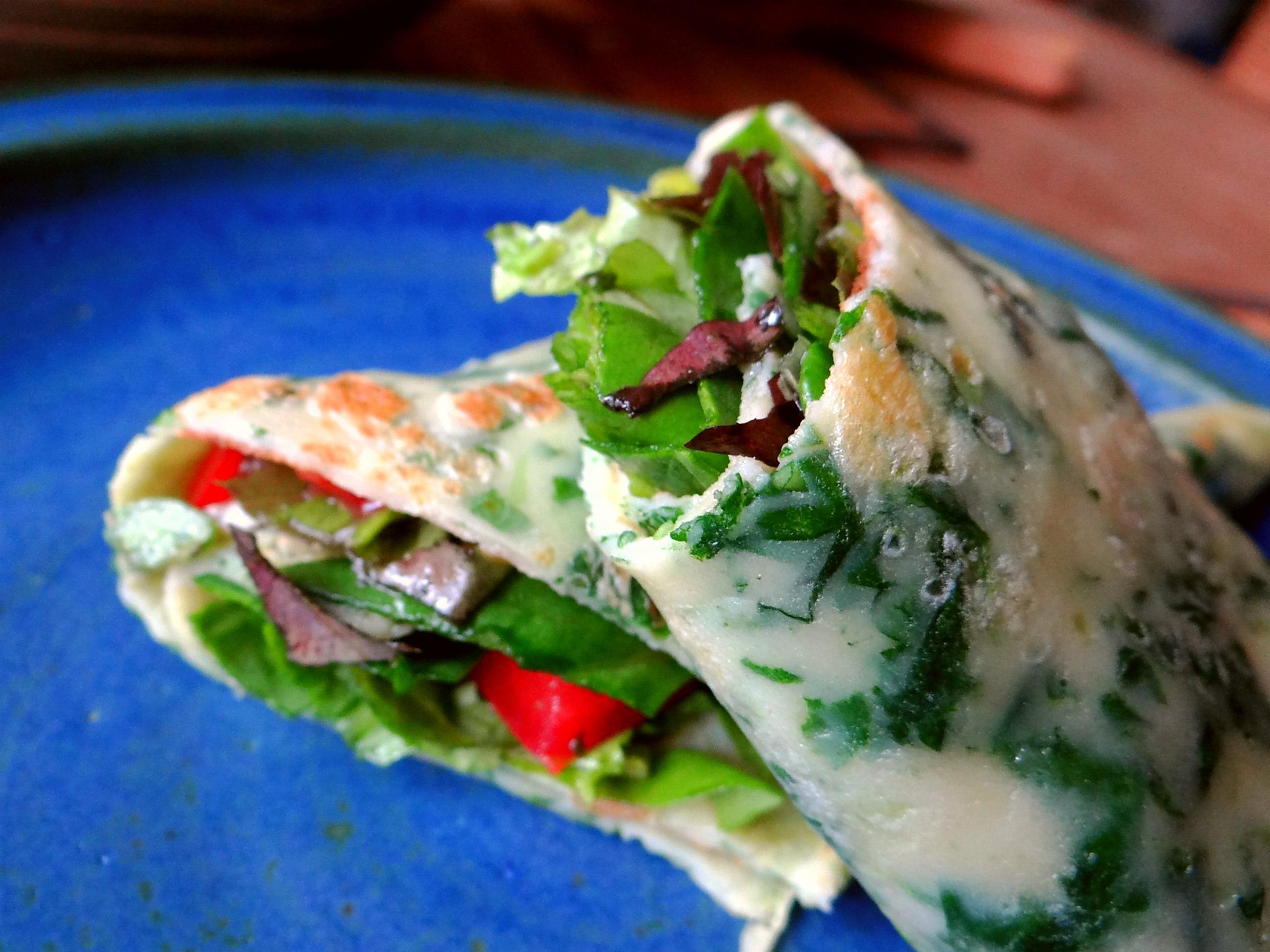 Eierpfannkuchen mit Spinat,Pflücksalat (2)