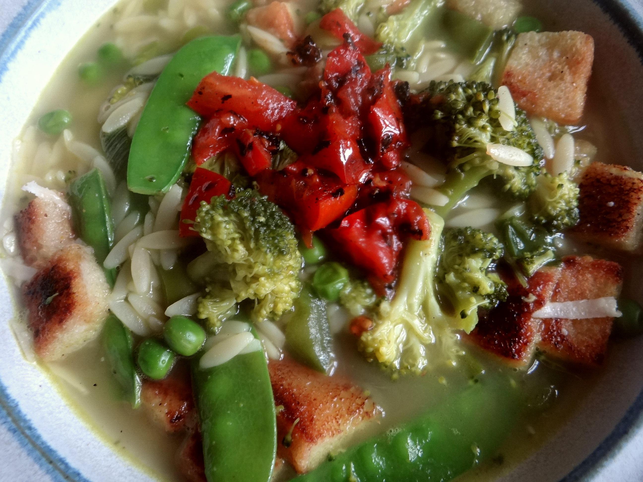 Grüne Suppe,Kritharaki,Quarkspeise (3)