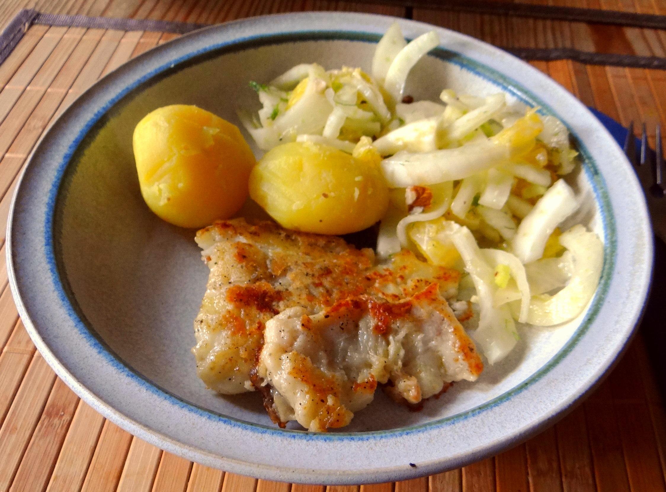 Kabeljau,Fenchel Salat,Kartoffeln,Birnen in Rotwein (12)