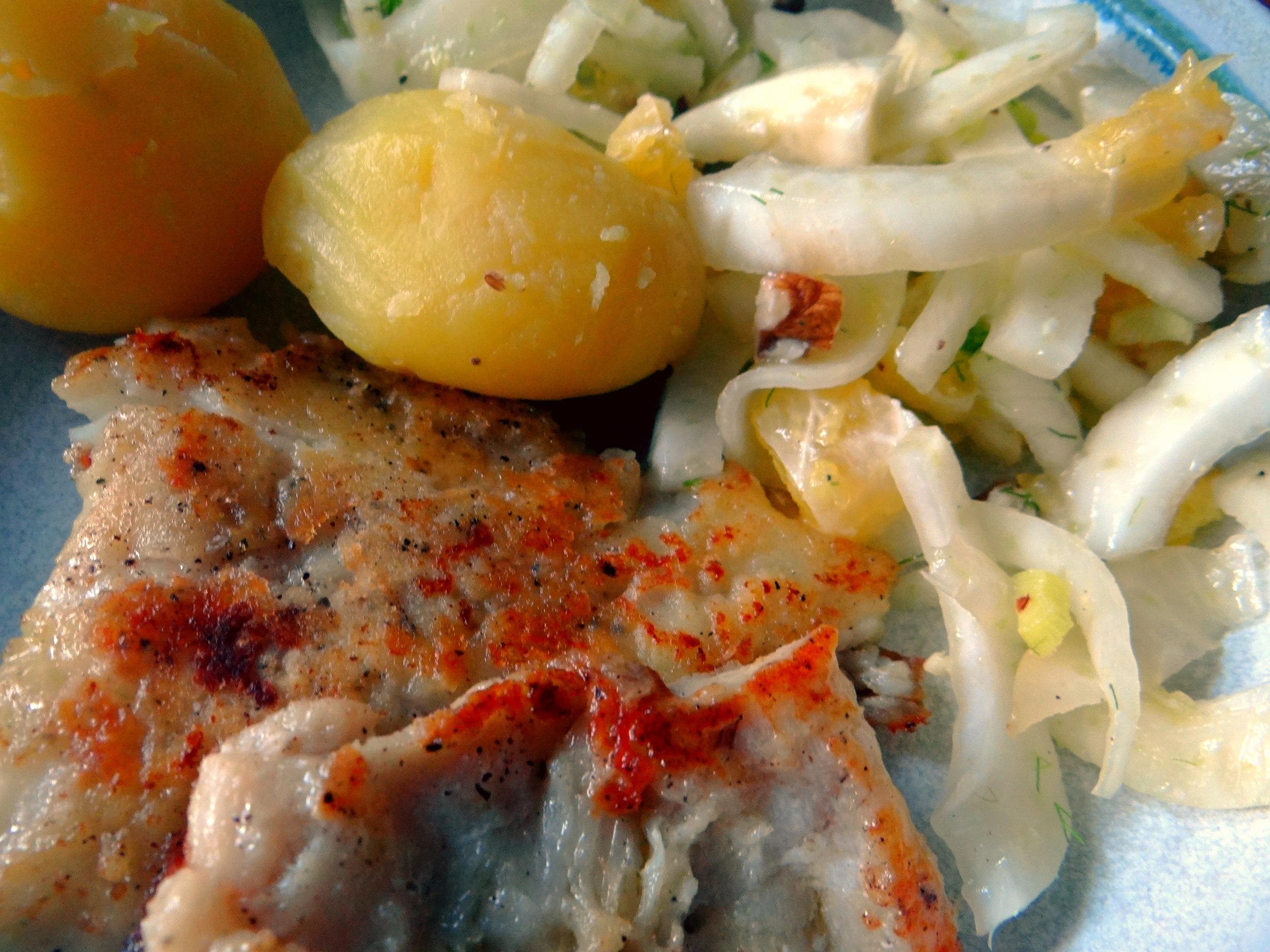 Kabeljau,Fenchel Salat,Kartoffeln,Birnen in Rotwein (3)