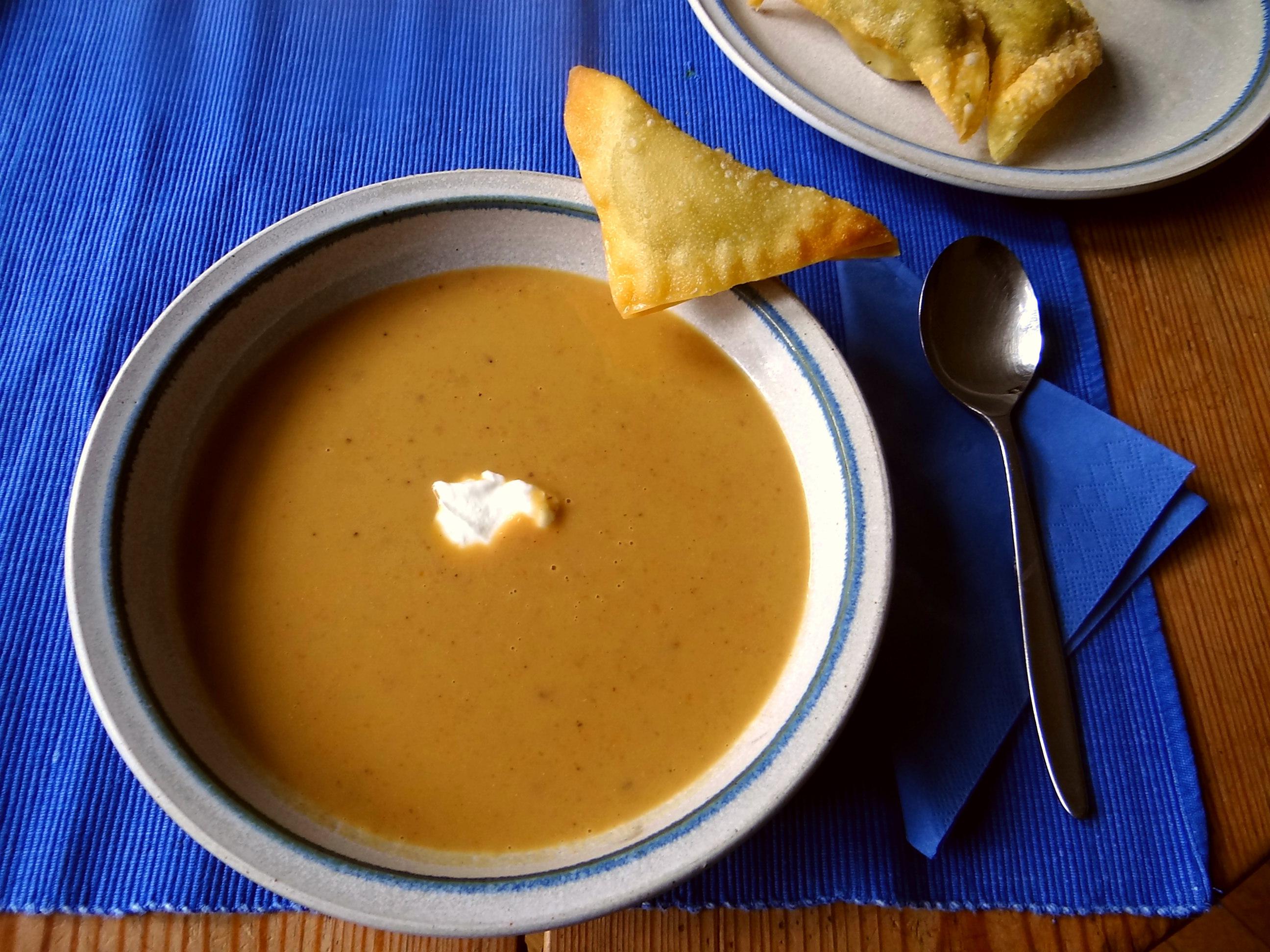 Maronensuppe,Teigtaschen,Wan Tan (1)