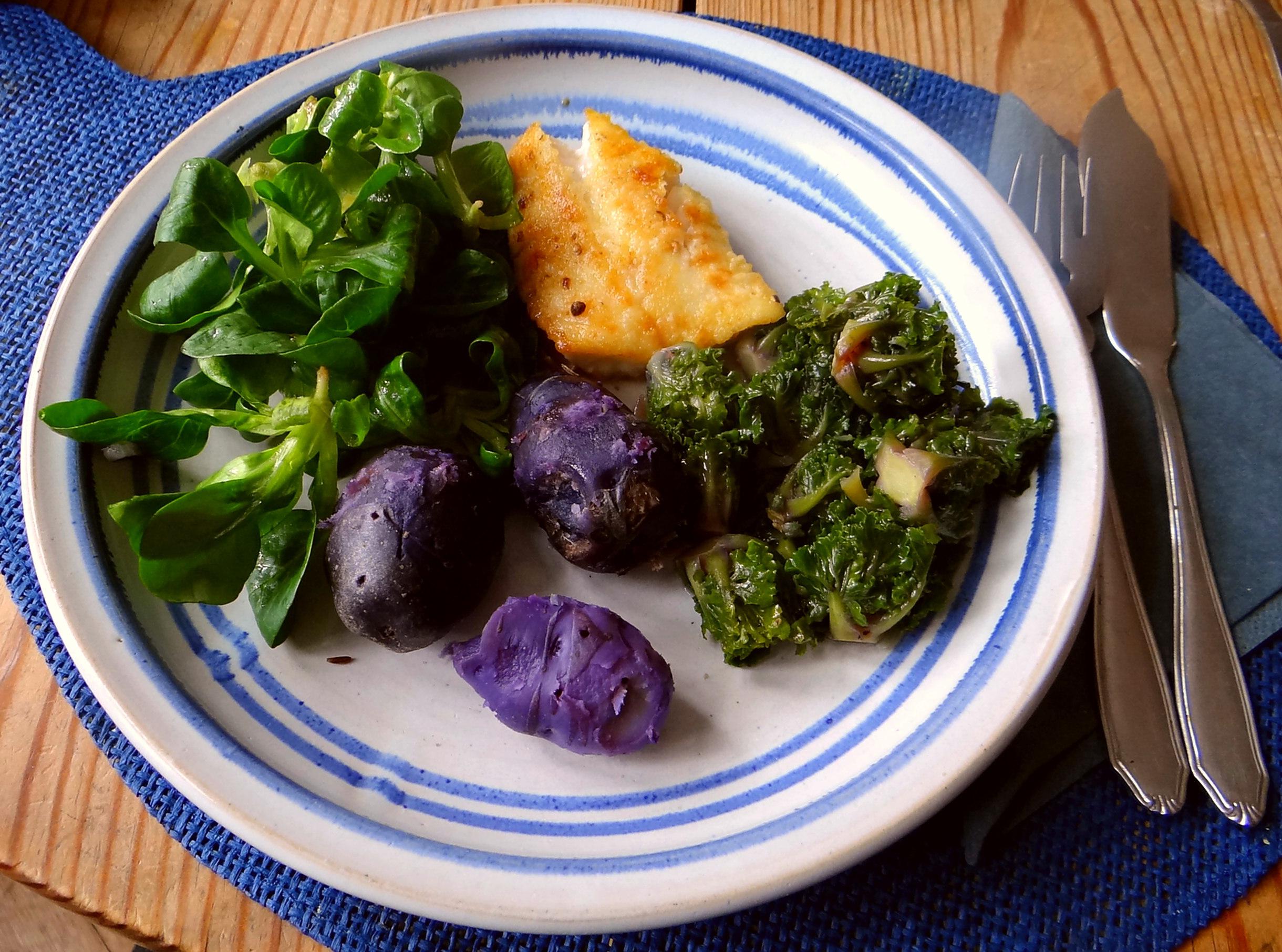 Rotbarsch,Kohlröschen,violette Kartoffeln (18)
